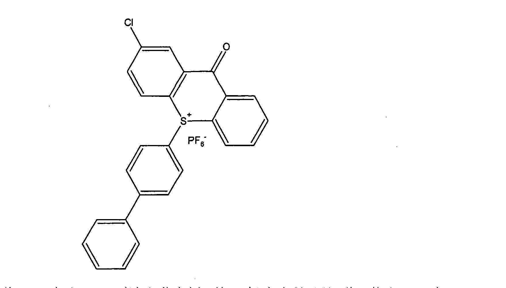 [0029] 的残基是被取代或者未被取代的噻蒽(thianthrene)、硫荷(dibenzothiophene)、 噻吨酮(thioxanthone)、噻吨(thioxanthene)、吩氧硫杂环己二烯(phenoxathiin)或吩噻嗪(phenothiazine)残基的化合物,尤其是上述残基为被取代噻吨酮残基的化合物。[0030] 其中R4、R5、R6或R7代表一个含I至20个碳原子的烷基基团,最好是I至10个碳原子的烷基,若为I至6个碳原子的烷基更好,若为I至3个碳原子的烷基则更是再理想不过的了