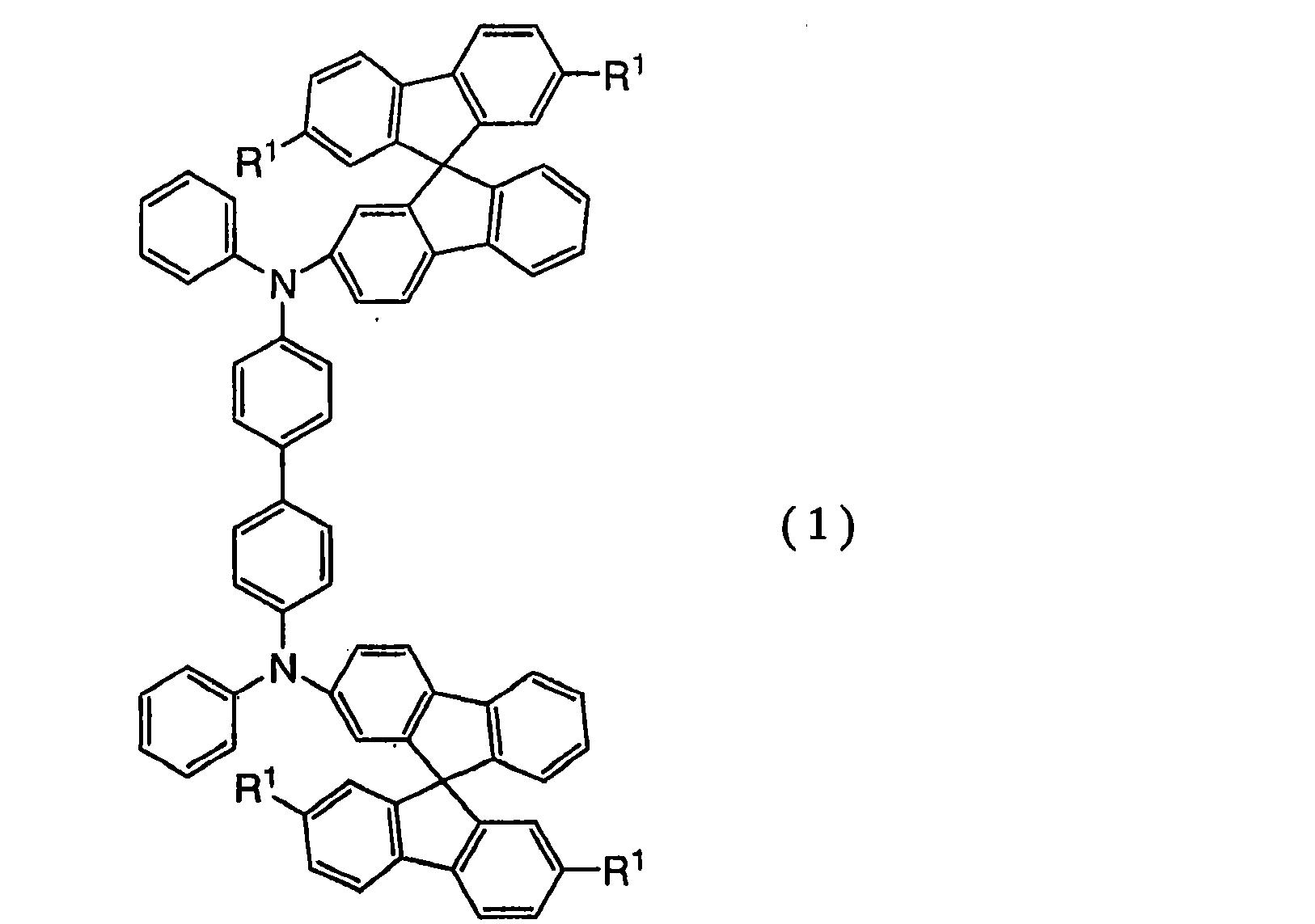 [0211] 在合成方案(a-)中,Rltl是氢或具有I到4个碳原子的烷基基团。此处优选的是,具有3或4个碳原子的烷基基团优选地处于支化状态。 [0212] 根据本发明的所述联苯胺衍生物可用作形成空穴输送层的材料,也就是空穴输送材料。 [0213] 根据本发明的联苯胺衍生物具有玻璃化转变温度满足150C或更大,优选160C或更大和300C或更小的特征,以及熔点满足180C或更大和400C或更小的特征。 [0214] 由于根据本发明的联苯胺衍生物具有优异的耐热性,通过利用根据本发明的联苯胺衍生物