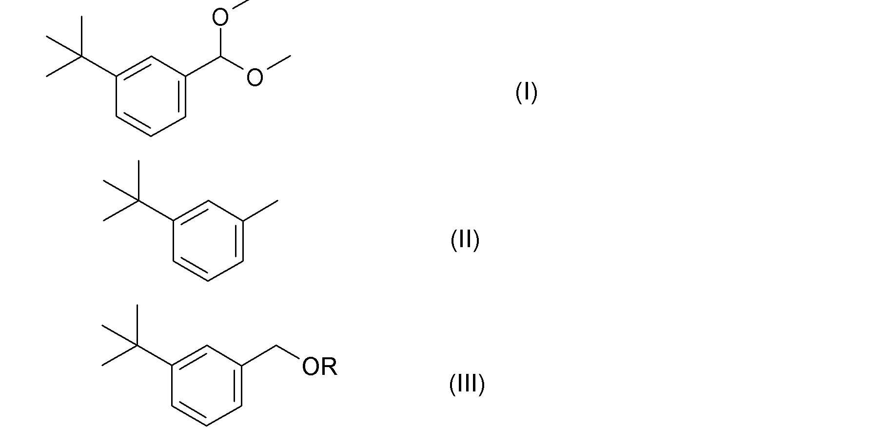 iv)的二(3-叔丁基苄基)醚而生产式(i)的3-叔丁基苯甲醛缩二甲醇的方法
