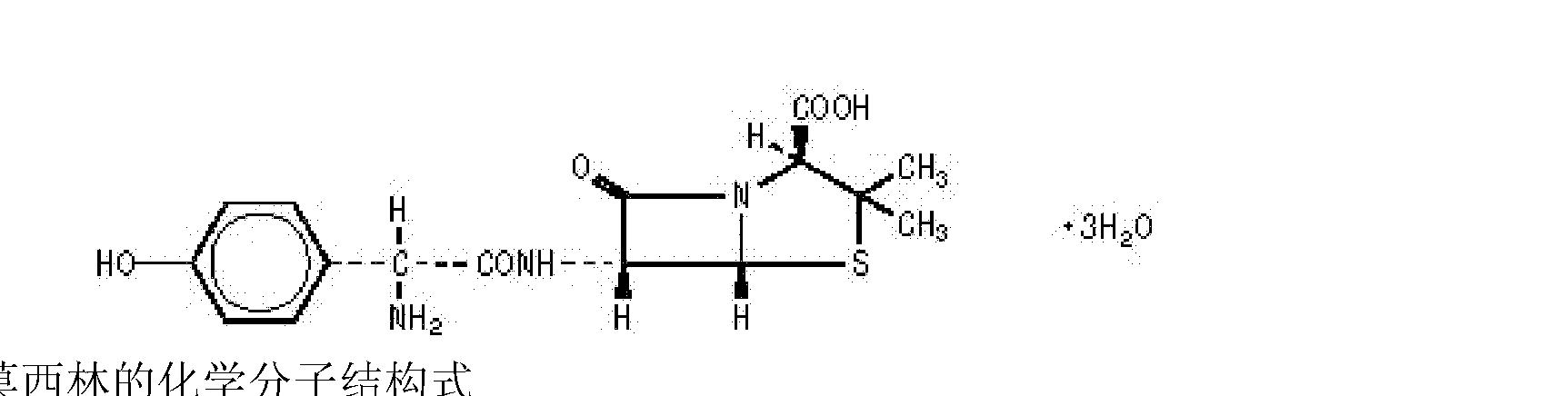 [0012] 克拉维酸钾的化学结构式 [0013] 克拉维酸钾为 -内酰胺酶抑制剂,通过竞争性不可逆的与多型 -内酰胺酶及葡萄球菌产生的青霉素酶结合。克拉维酸钾对胃酸相对稳定,易被吸收,犬给药lh,血药浓度达峰值,血清蛋白结合率为13%,广泛分布于肺、胸膜液和腹水,唾液、痰液和脑脊液中浓度较低,表观分布容积为0.
