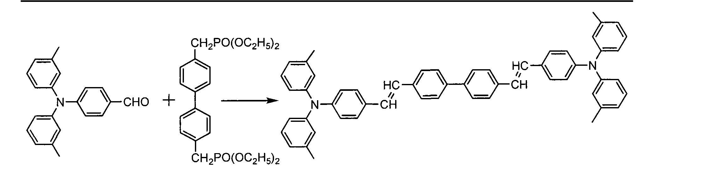 [0013] 包括以下步骤:在常温下将N,N-二(3-甲基苯基)-4_氨基苯甲醛、4,4 - 二苄基磷酸二乙酯联苯、叔丁醇钠和N,N-二甲基乙酰胺加入反应瓶中,搅拌溶解后,将反应瓶放入微波化学反应器中,在微波辐射功率为800W反应3〜lOmin,冷却至室温后,将反应液倒入IOOmL甲醇中,过滤,所得到的滤饼用甲苯重结晶后得到4,4 -双[4-( 二间甲苯基氨基)苯乙烯基]联苯,其中4,4_ 二苄基磷酸二乙酯联苯、N,N-二(3-甲基苯基)-4-氨基苯甲醛与叔丁醇钠的摩尔比为I : 2〜3 : 2〜3