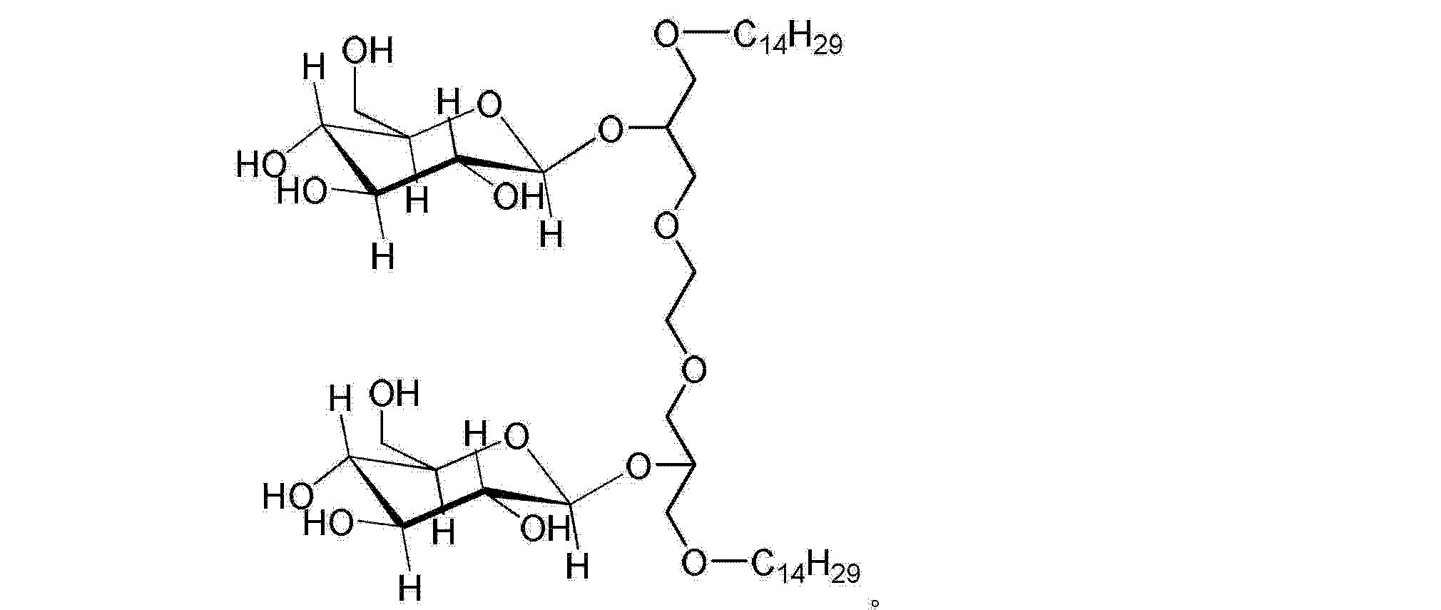 [0019] 上述制备方法中,所述的四乙酰葡萄糖三氯乙酰亚胺酯的加入的摩尔量需要大于或等于十四醇双子链的加入的摩尔量的两倍,作为优选,所述的十四醇双子链与四乙酰葡萄糖三氯乙酰亚胺酯的物质的量的比例为I : 2-10。 [0020] 上述制备方法中,所述的催化剂为常用的有机酸,加入的量为催化量,实验表明,催化效果的较好的有机酸为三氟化硼乙醚、三氟甲磺酸三甲基硅脂中的一种或两种。 [0021] 所述的有机溶剂I为对十四醇双子链、四乙酰葡萄糖三氯乙酰亚胺酯溶解性较好的非质子性有机溶剂,一般选择二氯甲烷、三氯甲