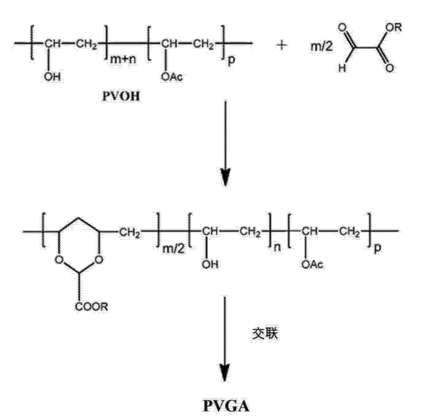 [0068]方案 III [0069] 参看方案III,将n摩尔的一种二醛连同m摩尔的一种乙醛酸衍生物一起添加到PVOH中,该二醛在醛基之间具有一个可变的R1部分,其中R与方案I中相同。R1在该反应的范围内并不被特别限制,并且在不同的实施方式中,是一个共价键或一个直链、支链或环状的烷基或链烯基,或一个芳基或烷芳基,它任选地含有一个或多个杂原子。在本发明的一个或多个交联反应中有用的适当二醛的非限制性实例包括例如乙二醛(ethanedial,glyoxal)> 戍二 醒(glutaraldehyde,
