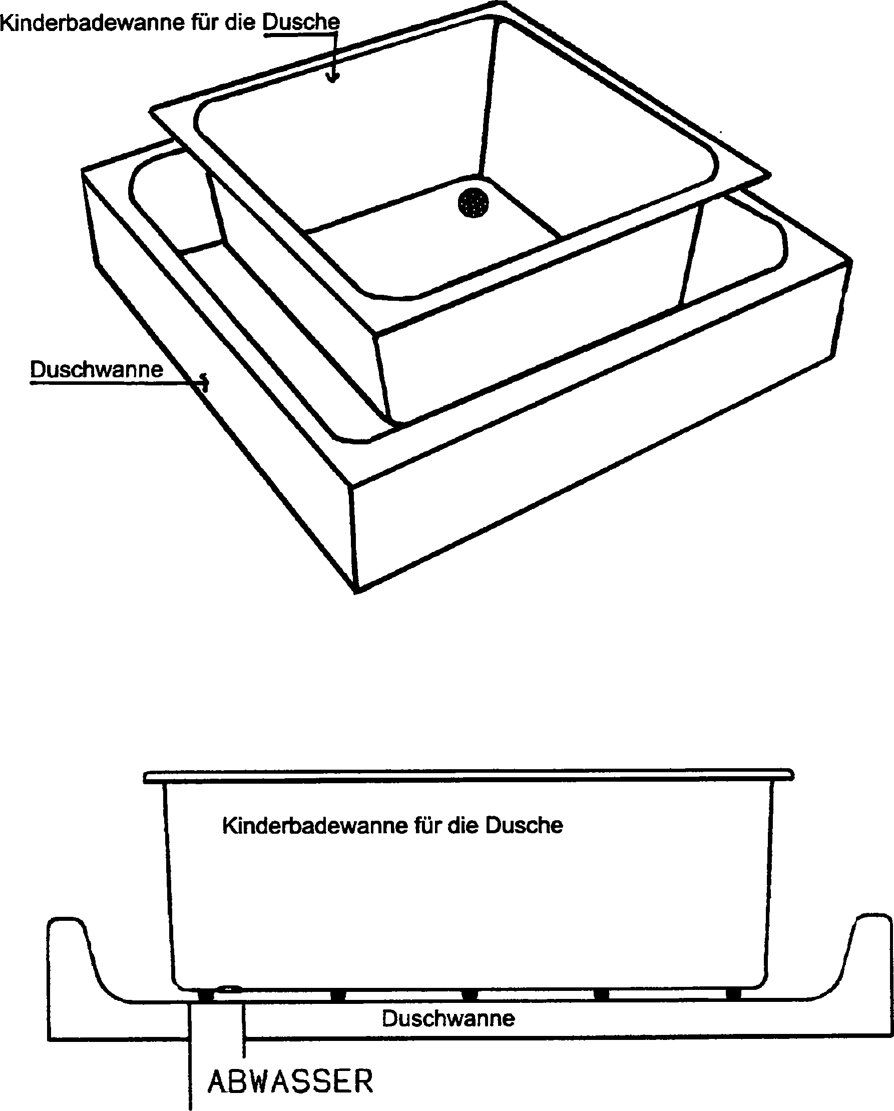 patent de202011003004u1 kinderbadewanne f r die dusche google patents. Black Bedroom Furniture Sets. Home Design Ideas
