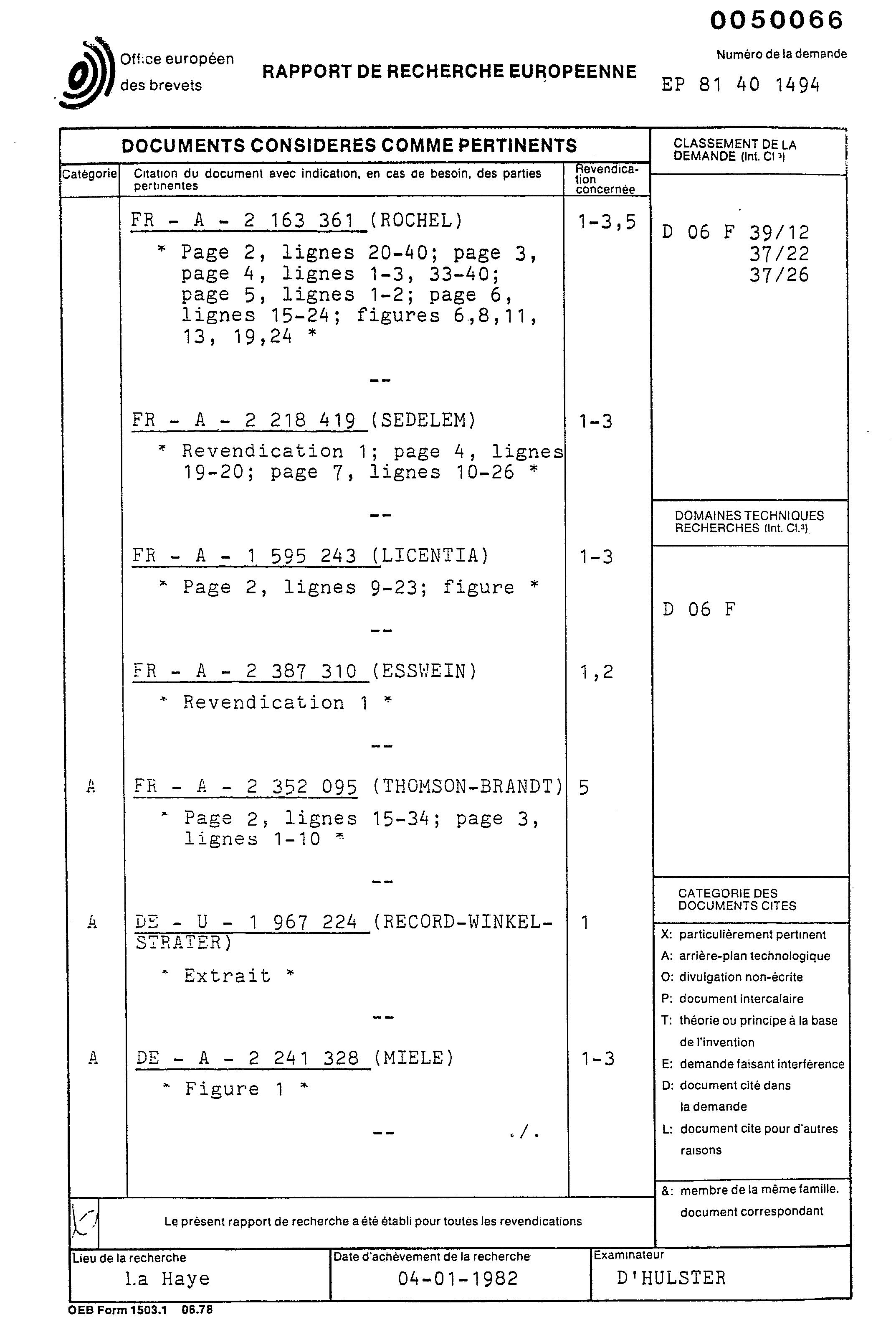 patent ep0050066a1 machine laver le linge troite et encastrable google patents. Black Bedroom Furniture Sets. Home Design Ideas