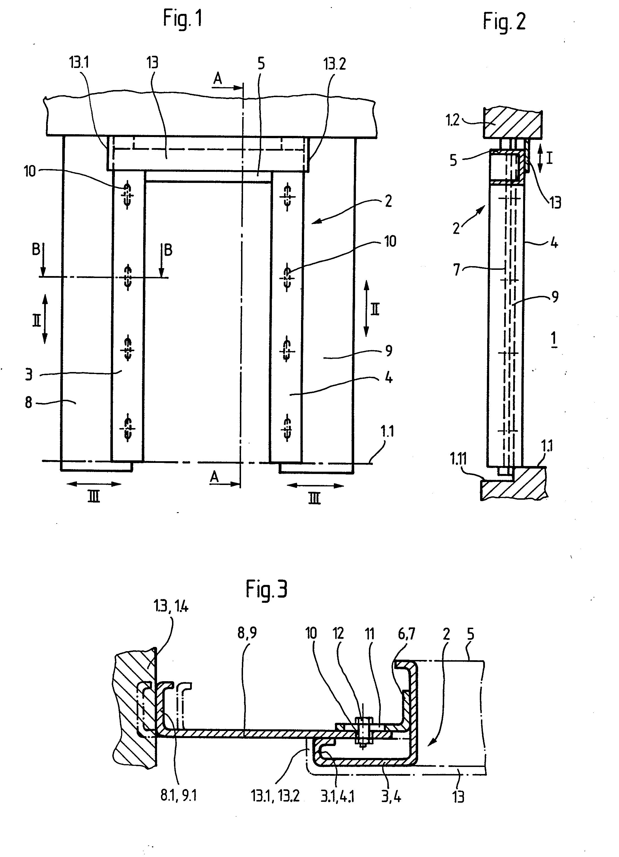 Patent ep0103087a1 huisserie de porte pali re d for Hauteur porte fenetre standard
