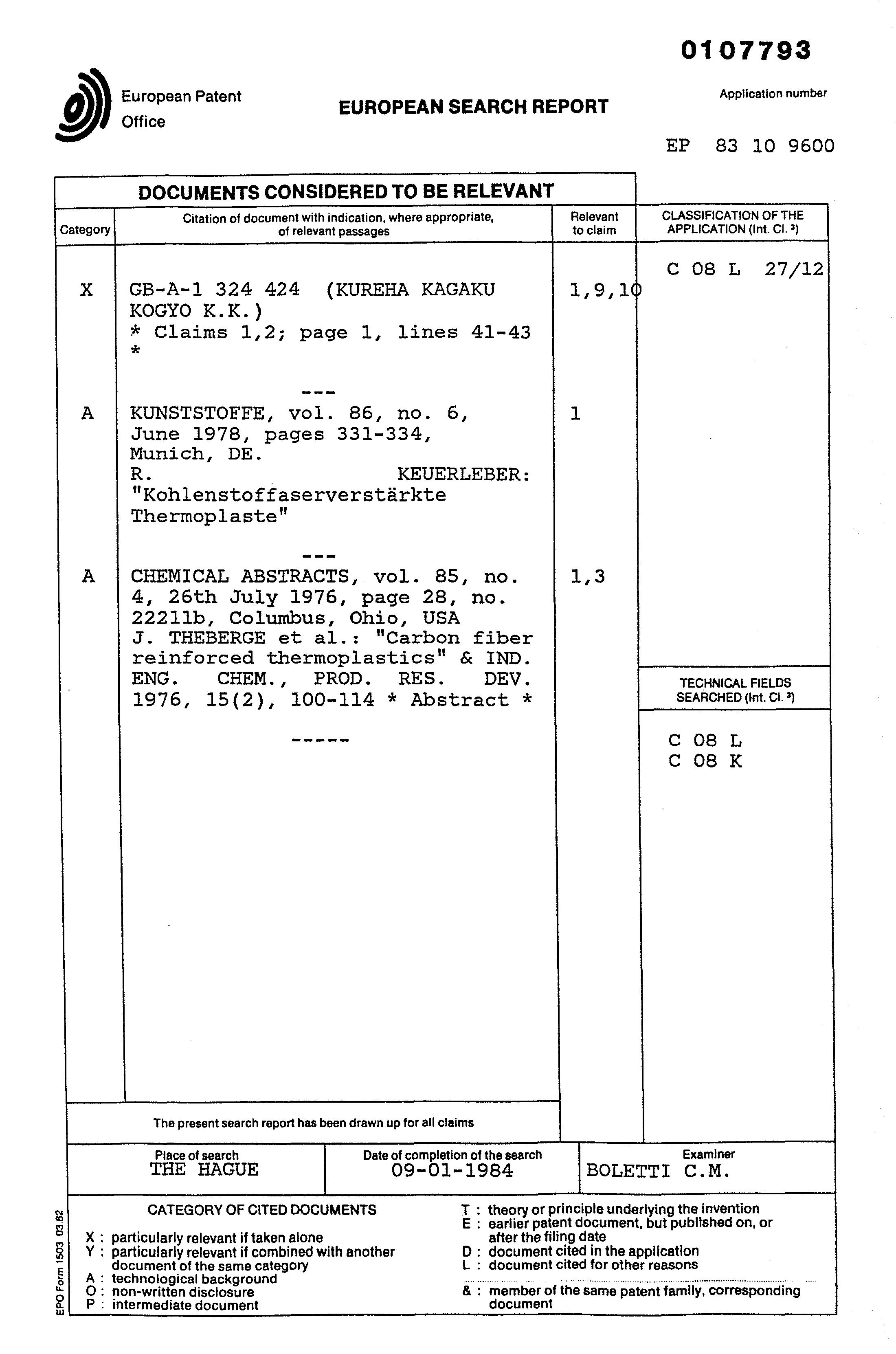 Brevet Ep0107793a1 Carbon Fiber Containing