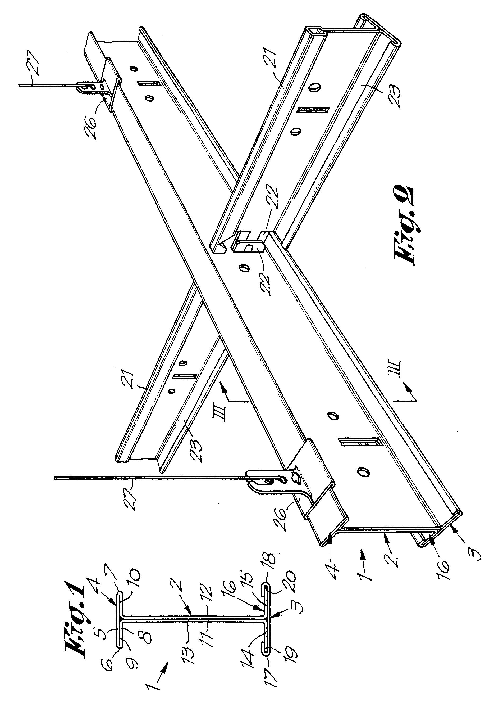 Patent ep0237651b1 poutrelle pour plafond suspendu faux for Rail faux plafond suspendu