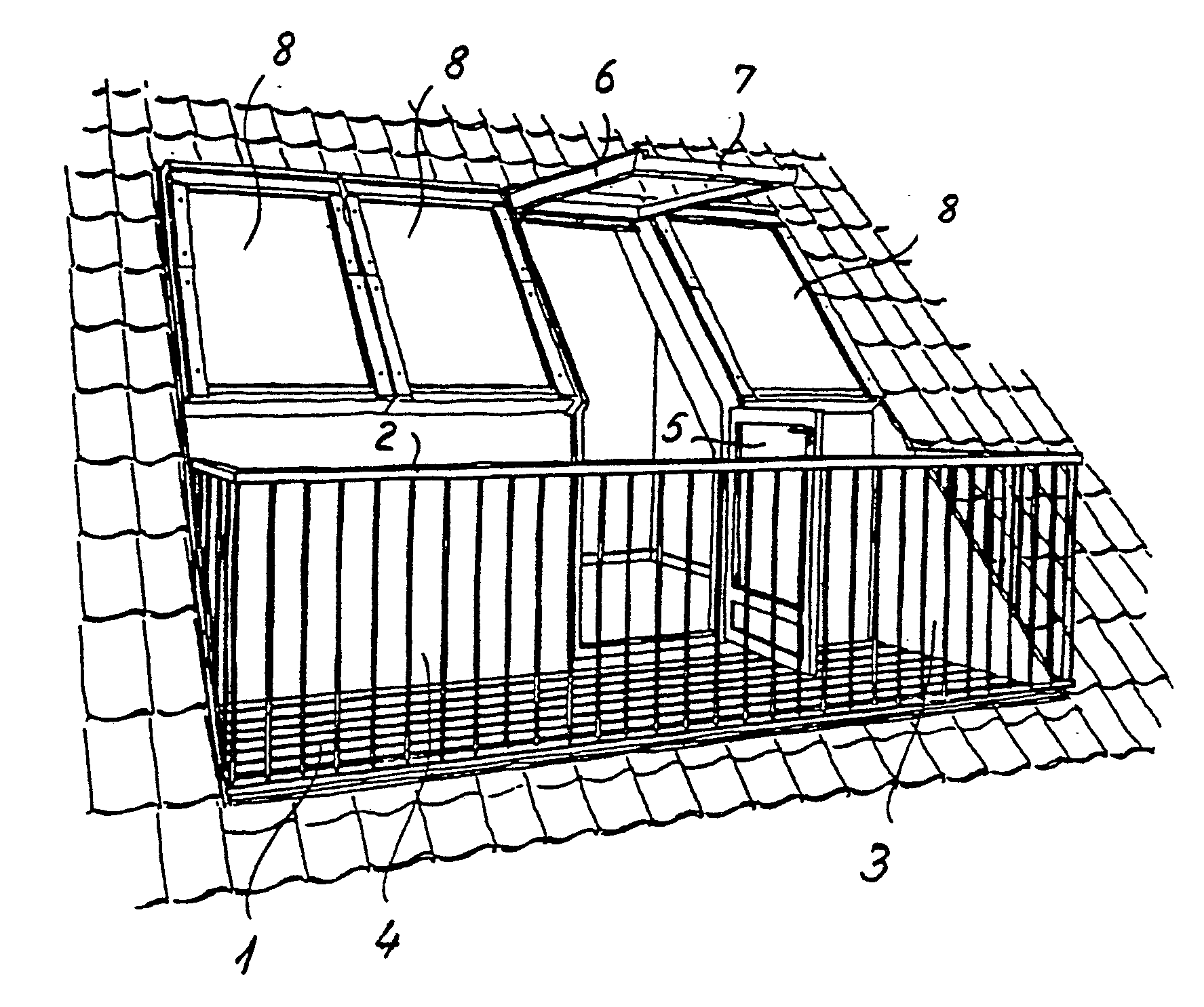 Patent ep0308105a1 a balcony window and door arrangement for Balcony on roof