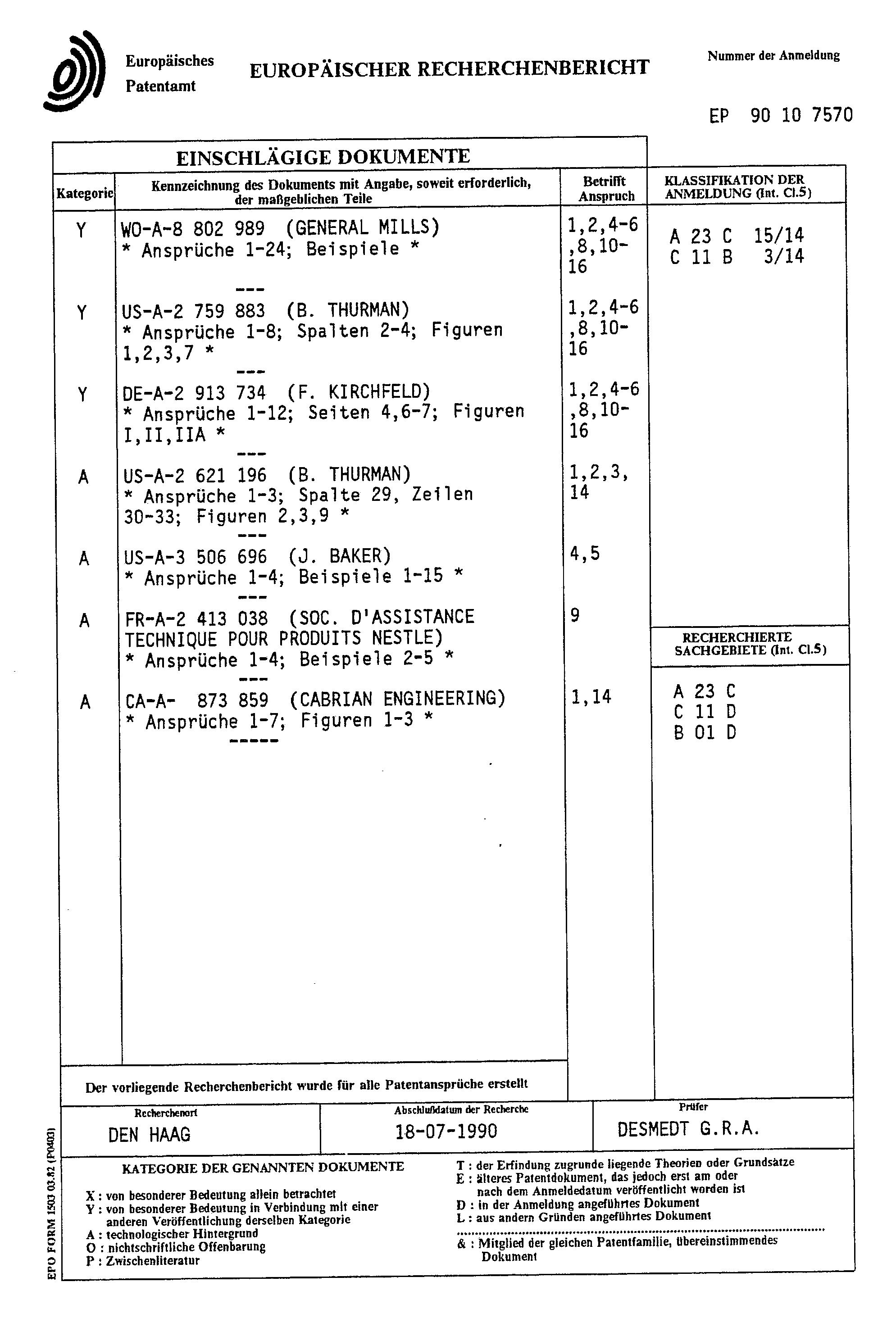 patente ep0395962a1 verfahren zur herstellung von cholesterin reduziertem butterfett bzw. Black Bedroom Furniture Sets. Home Design Ideas