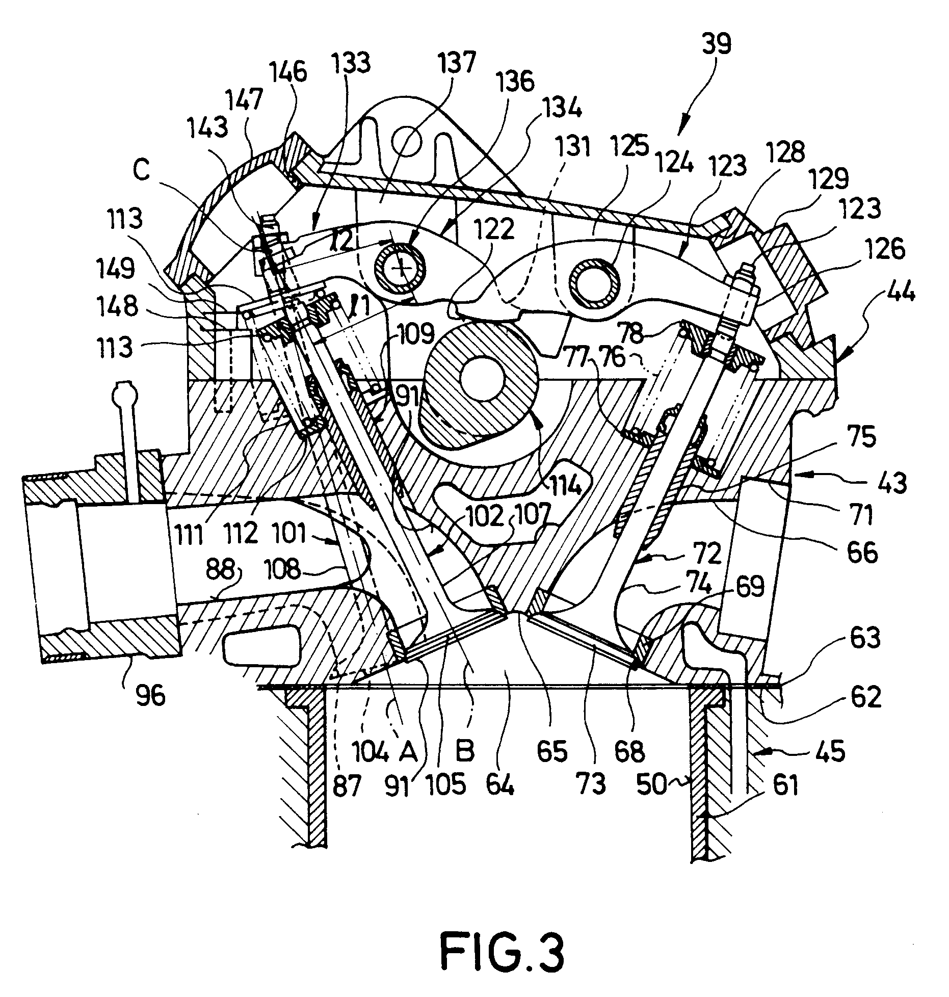 patent ep0433728b1 cylinder and valve arrangement for a multi valve combustion