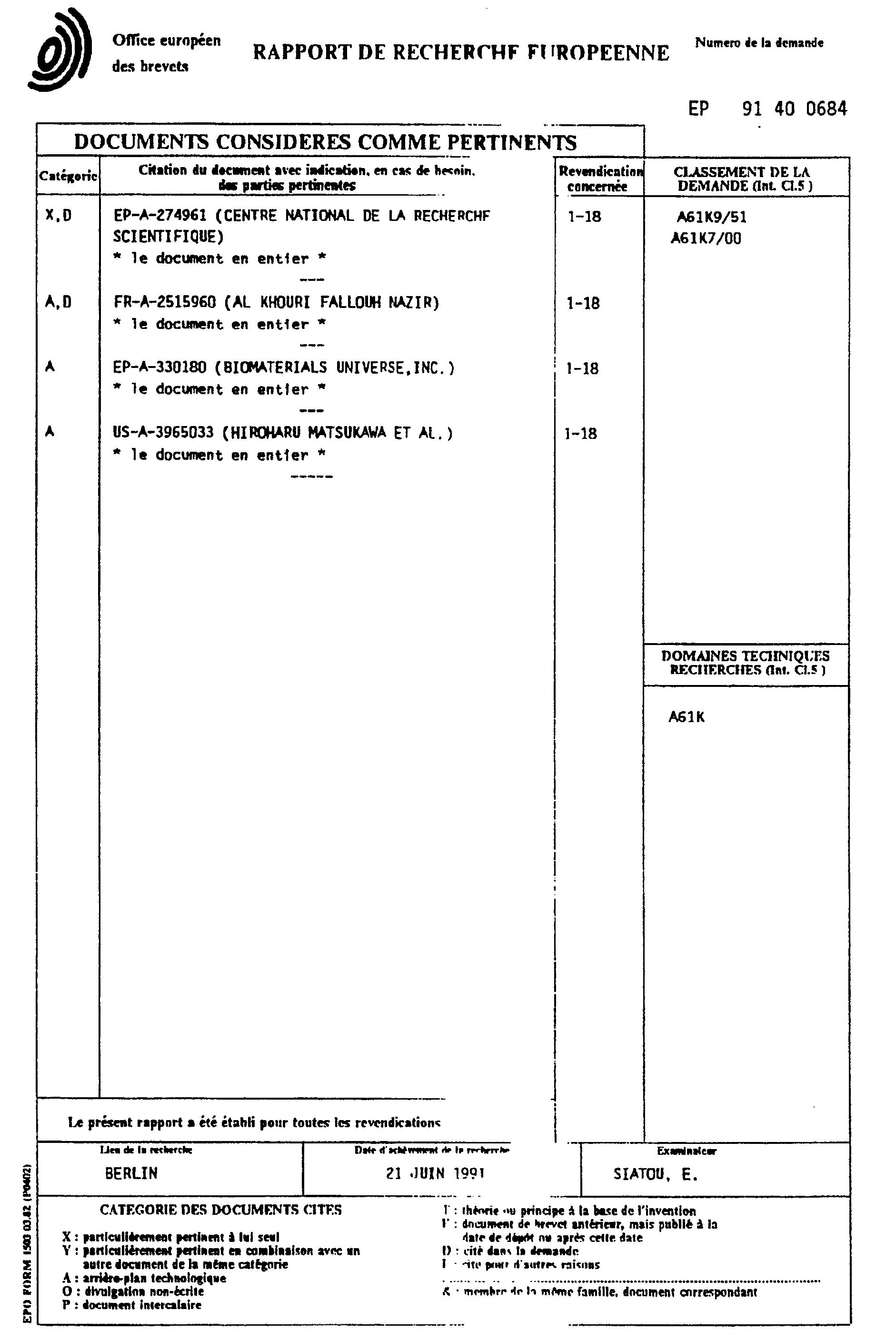 Brevet ep0447318a1 composition pour le traitement - Traitement pour eviter les fausses couches ...