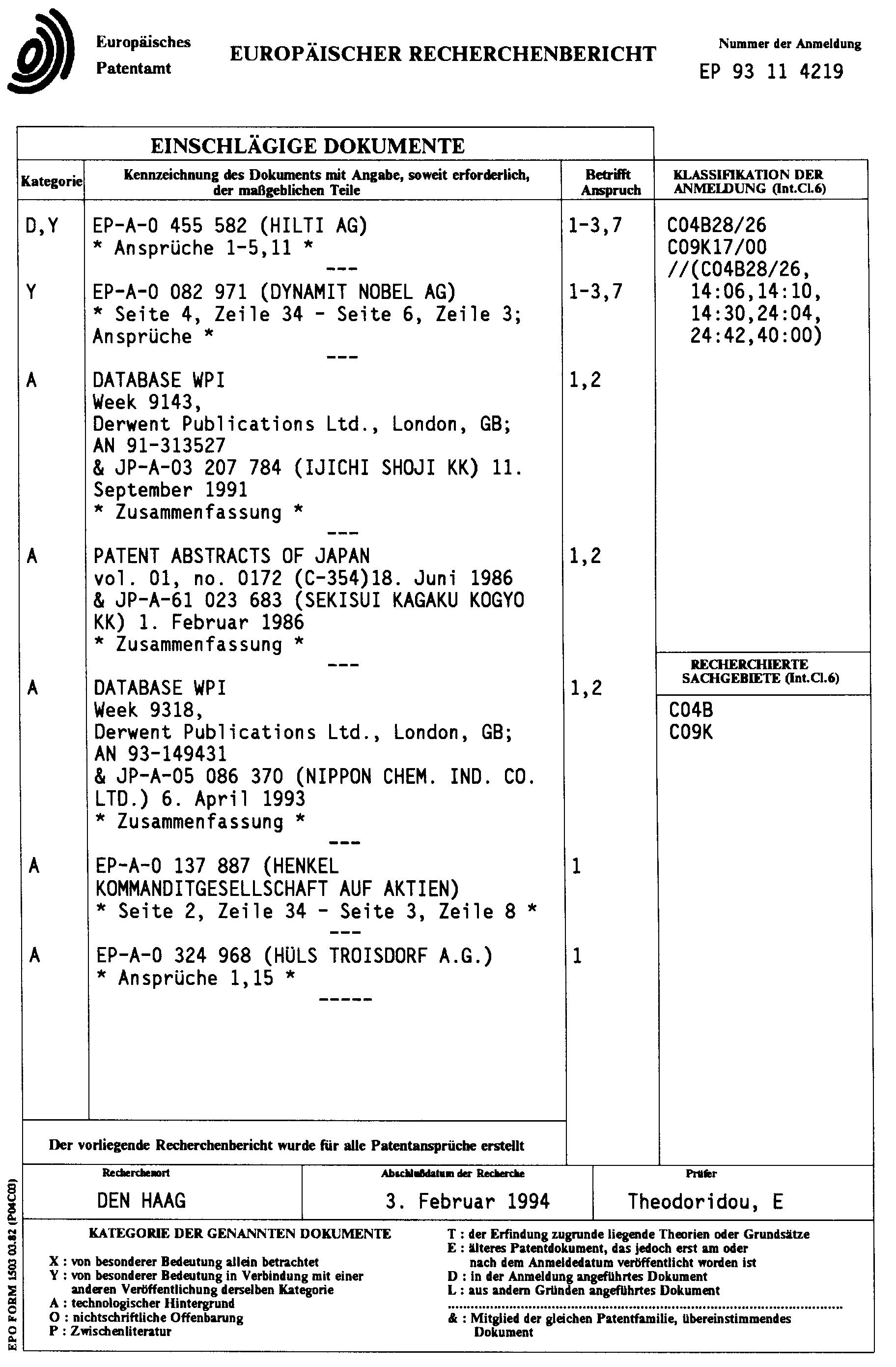 patent ep0641748a1 masse f r die befestigung von d beln in hohlr umen von beton stein. Black Bedroom Furniture Sets. Home Design Ideas