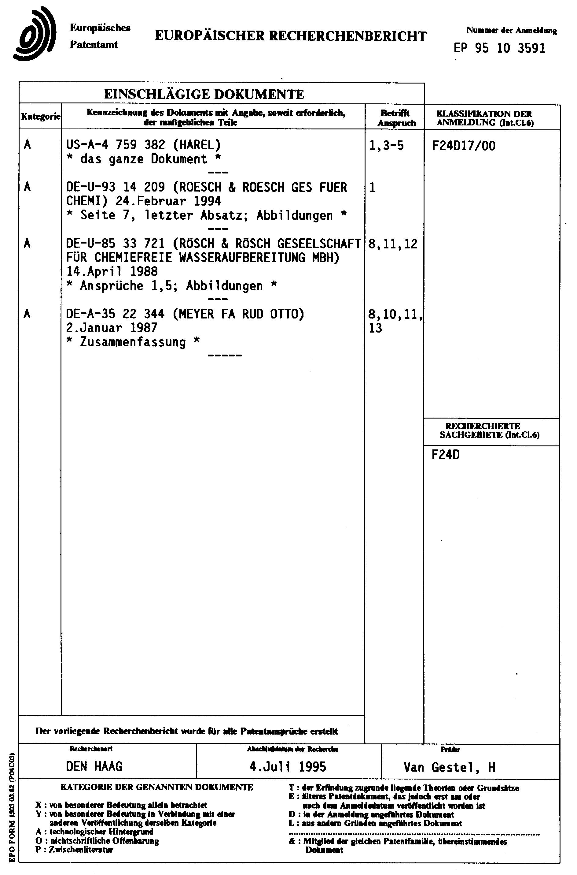 Patent EP0674137A1 - Warmwasserversorgungsanlage mit Ringleitung ...