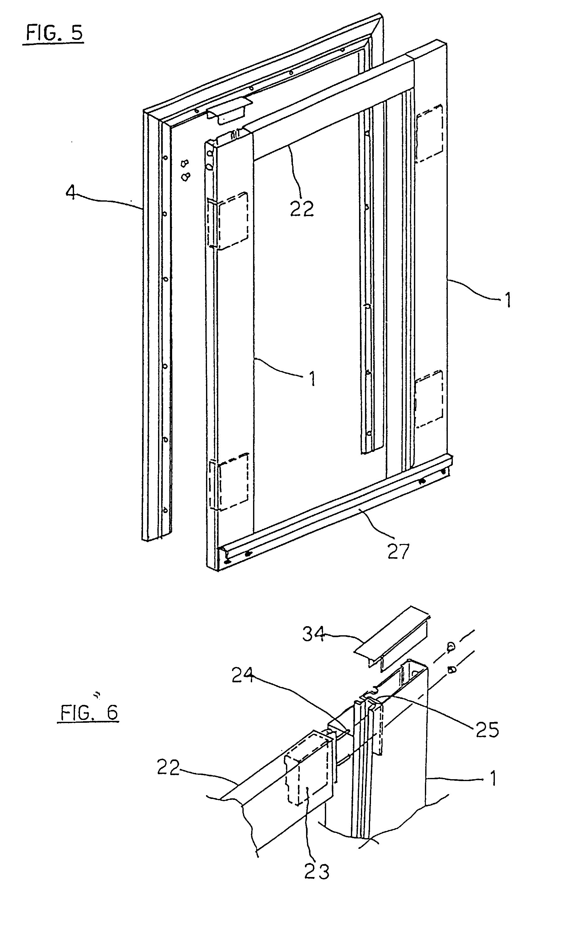 Patent ep0735333b1 door frame for cold room realized for Room door frame