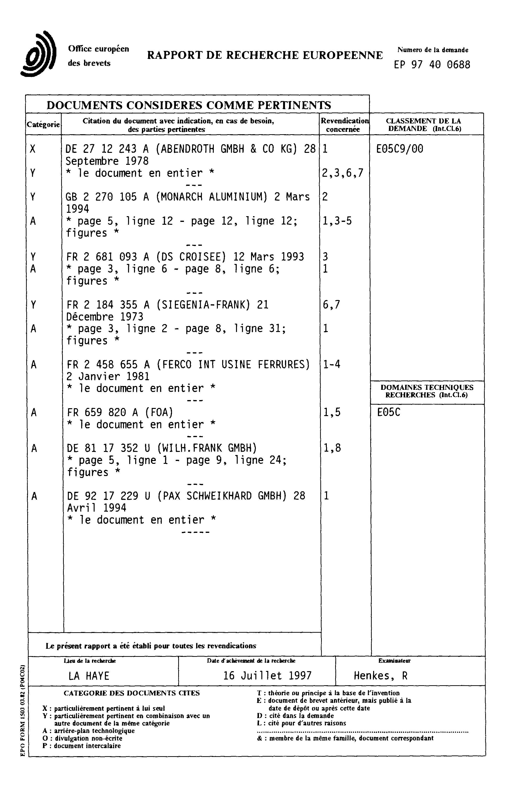 Patent ep0803624a1 cr mone et tringle de cr mone for Cremones de fenetre translation