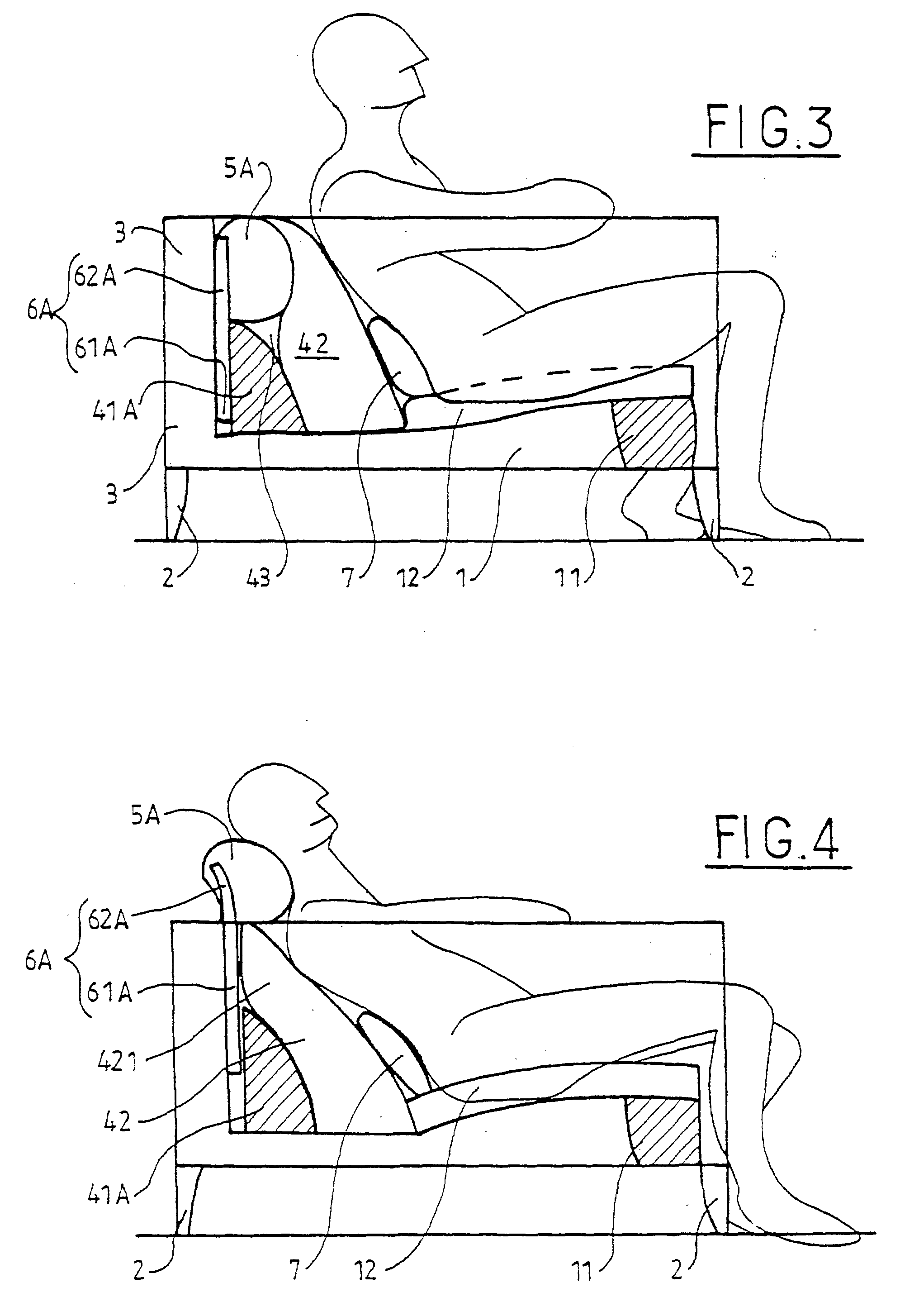 Patent ep0895737b1 si ge de type fauteuil ou canap for Types of canape bases