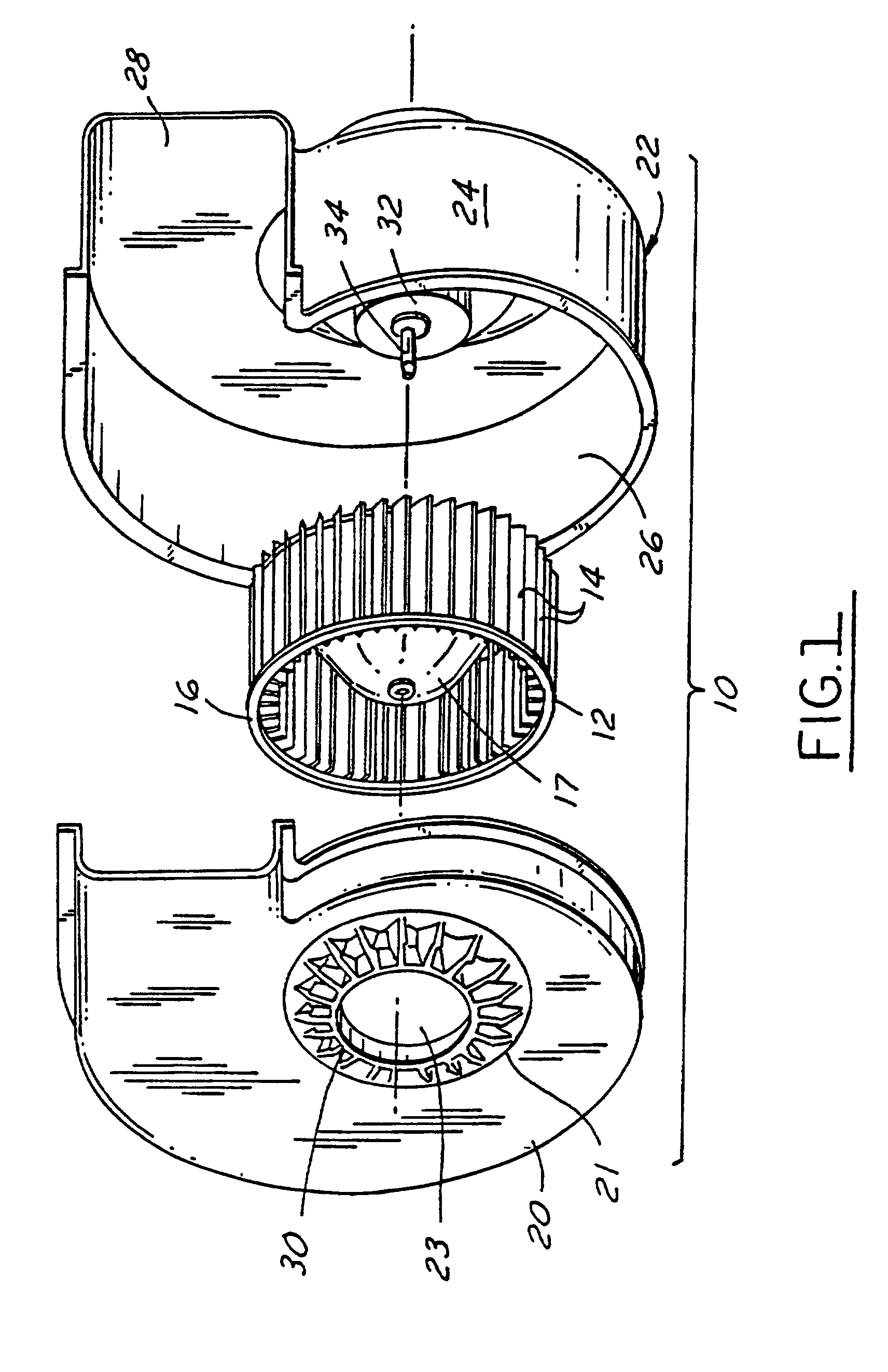Patent EP0971131B1 Centrifugal blower assembly for an automotive  #3A3A3A