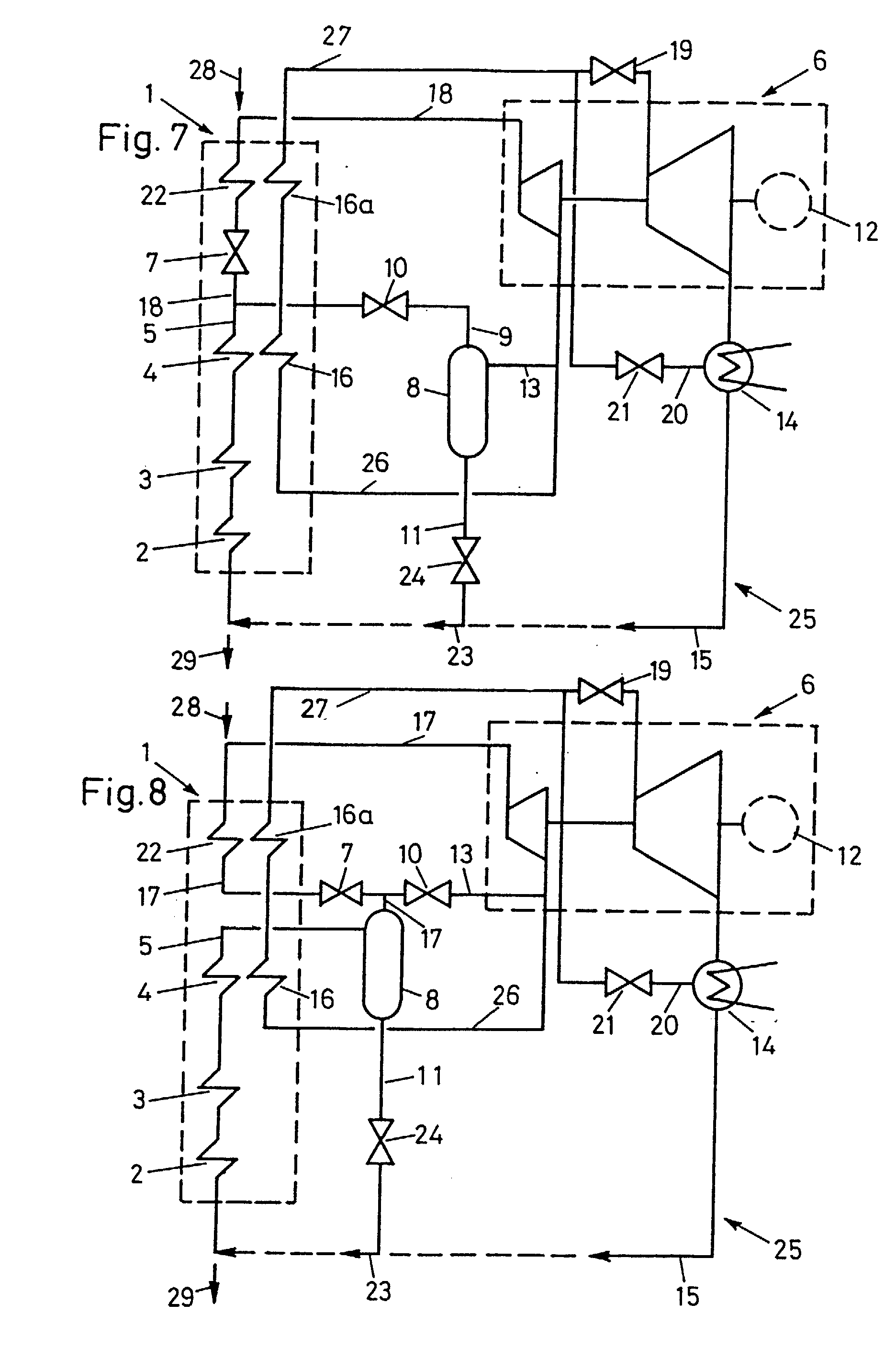 Patent EP A2 Method for starting a once through waste heat