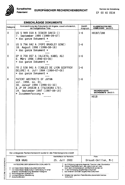 Patent EP1128396A1 - Elektrisches Kabel - Google Patents