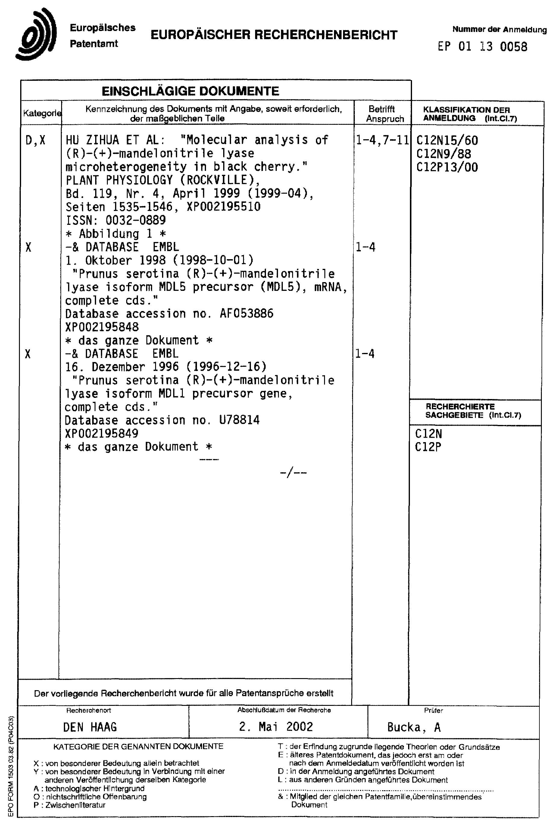 Patent EP1223220A1 - Gene, enthaltend eine für Hydroxynitrillyase ...