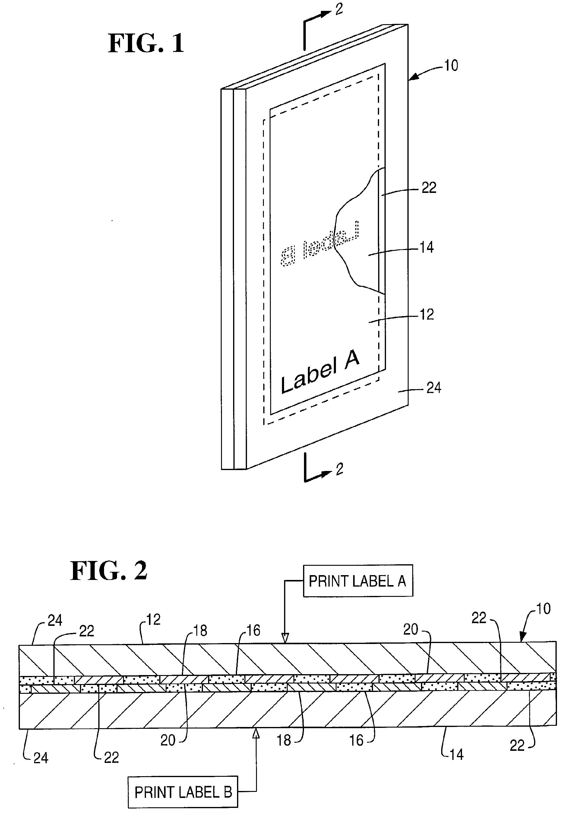 专利ep1229509a2 - duplex label laminate - google