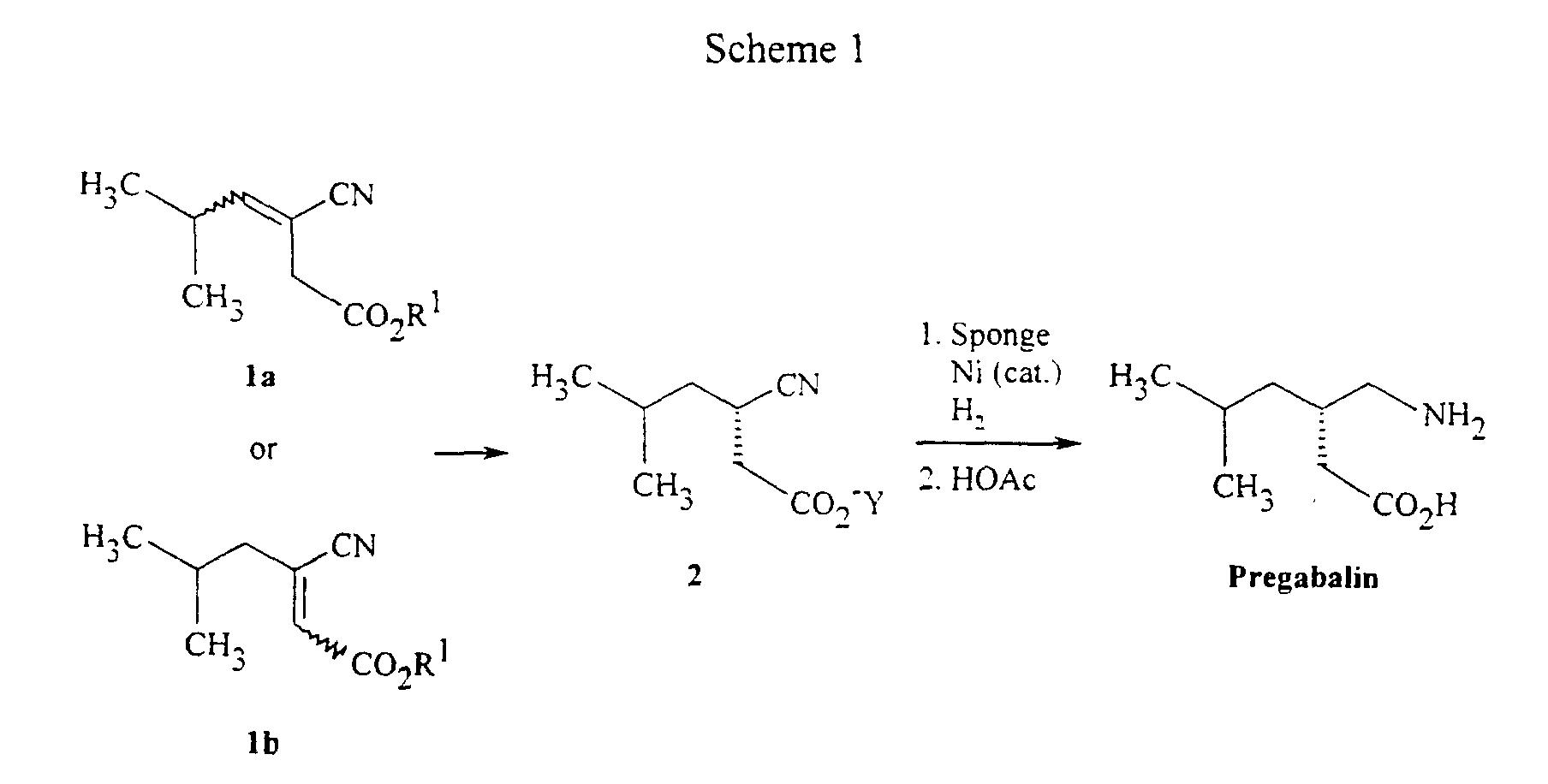 pregabalin synthesis reactions