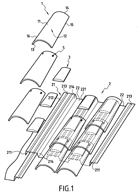 patent ep1496169b1 proc d de r alisation d 39 une toiture construite en tuiles canal et toiture. Black Bedroom Furniture Sets. Home Design Ideas