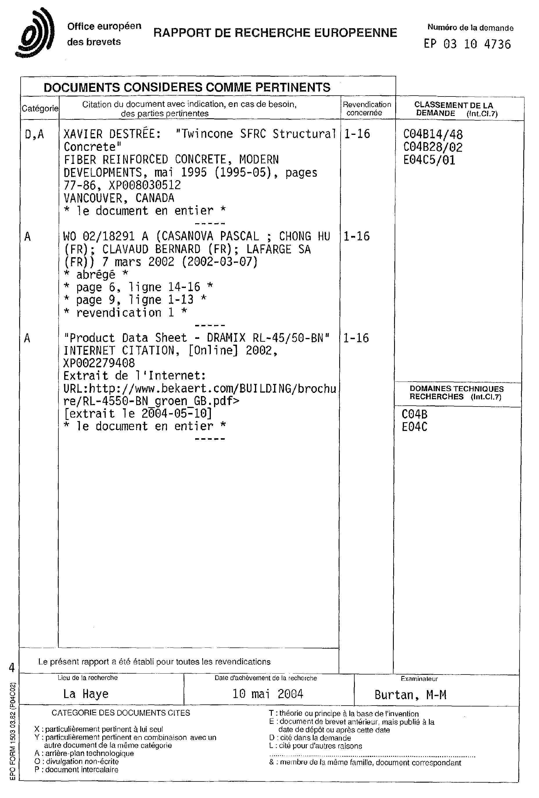 patent ep1544181a1 b ton de fibres m talliques google patents. Black Bedroom Furniture Sets. Home Design Ideas