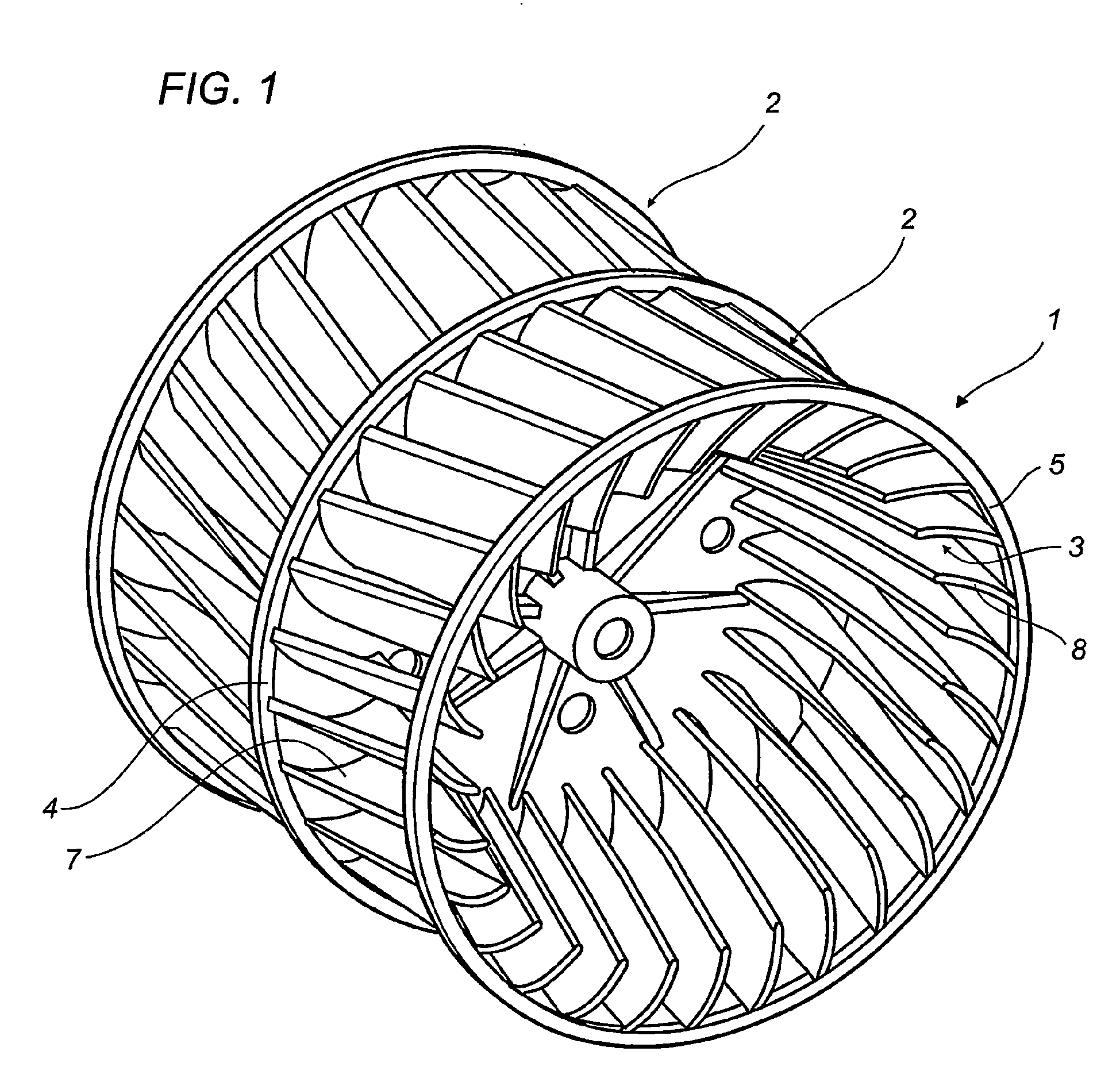 Patent EP1563191B1 A centrifugal fan impeller with blades inclined  #666666