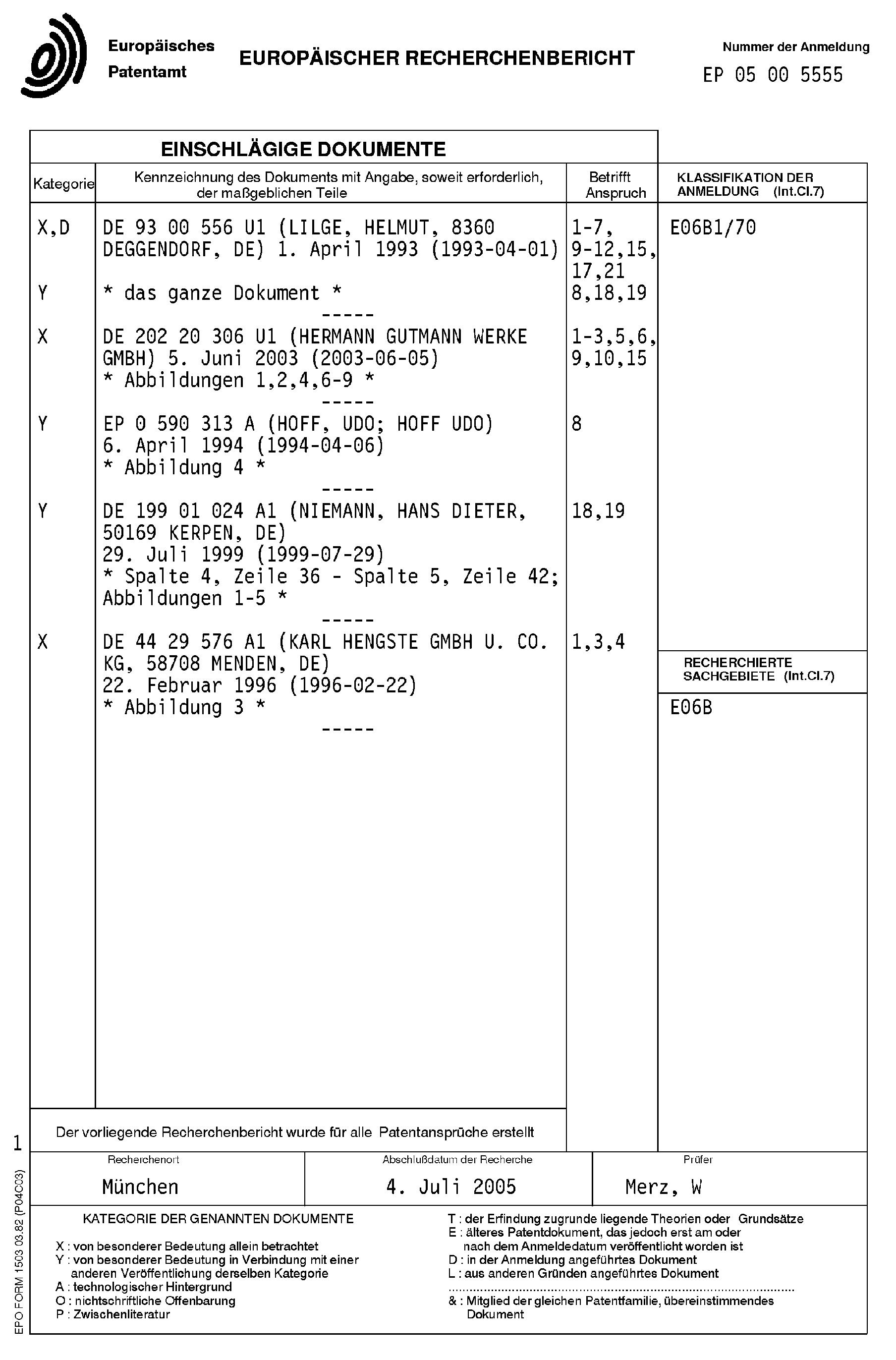 Patent EP1580386A1 - Anschlusselement für den Anschluss einer ...