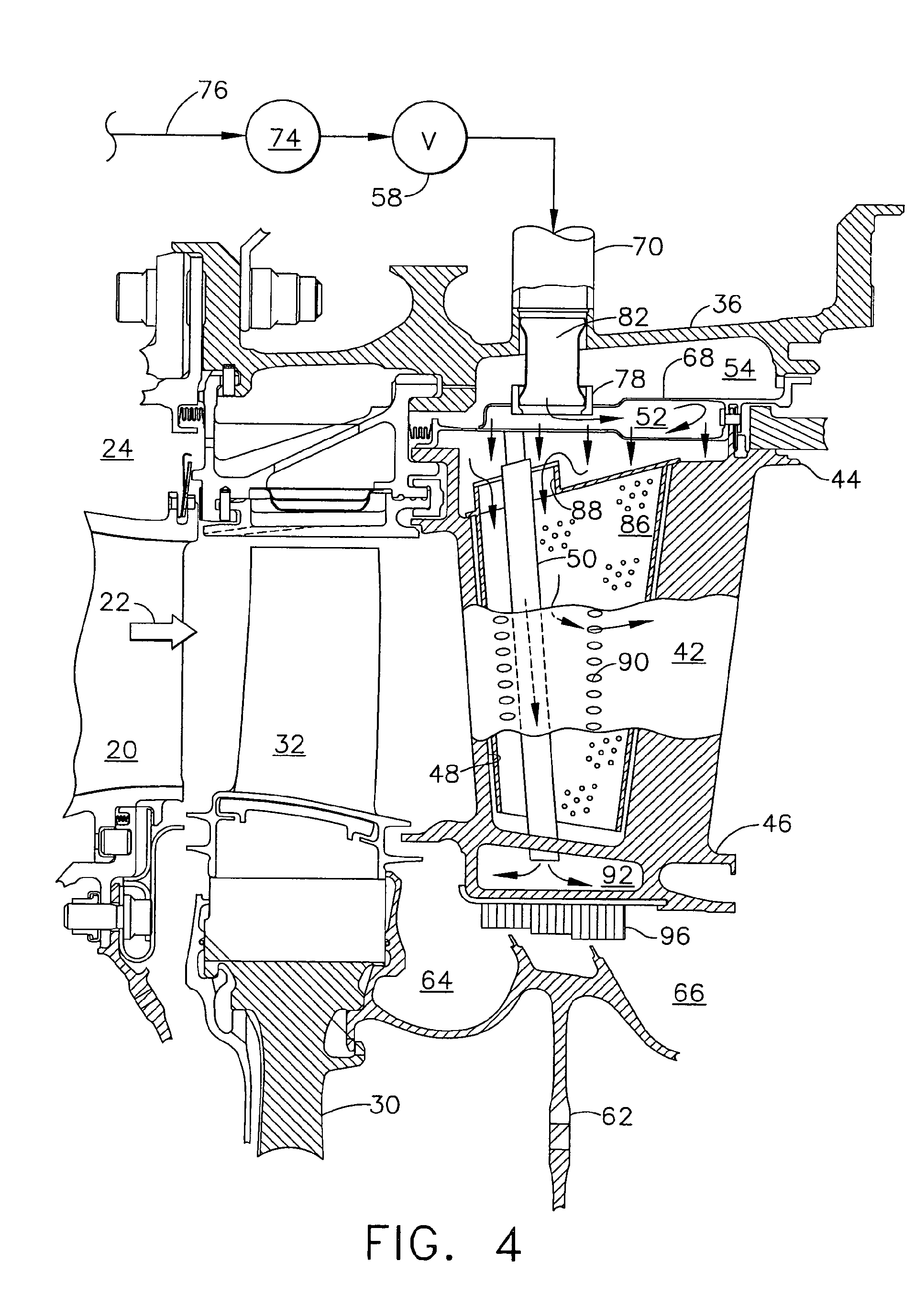 Patent EP A1 Gas turbine engine with modulated flow