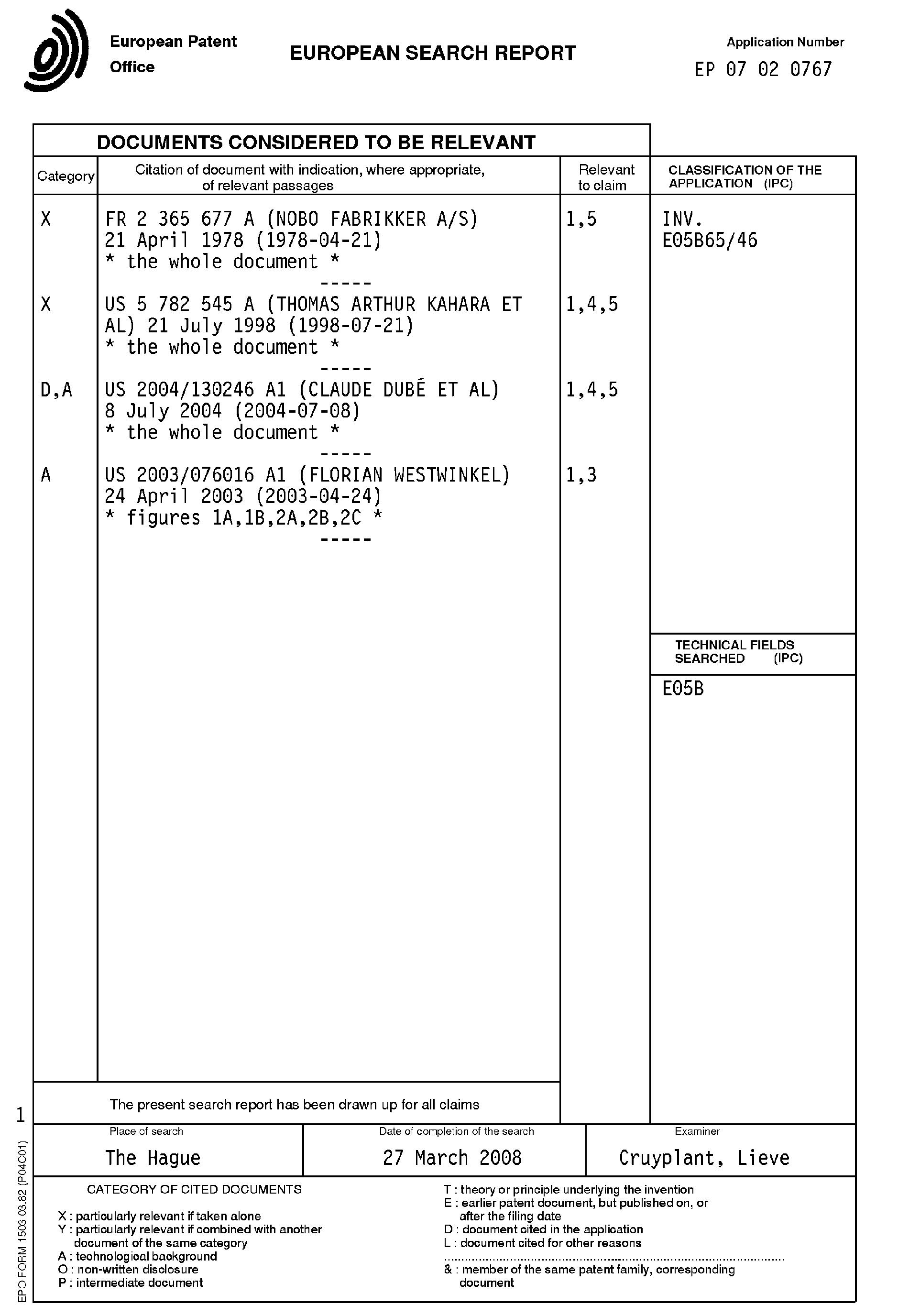 Patent EP2053187A1 - Umkippschutzvorrichtung für einen ...