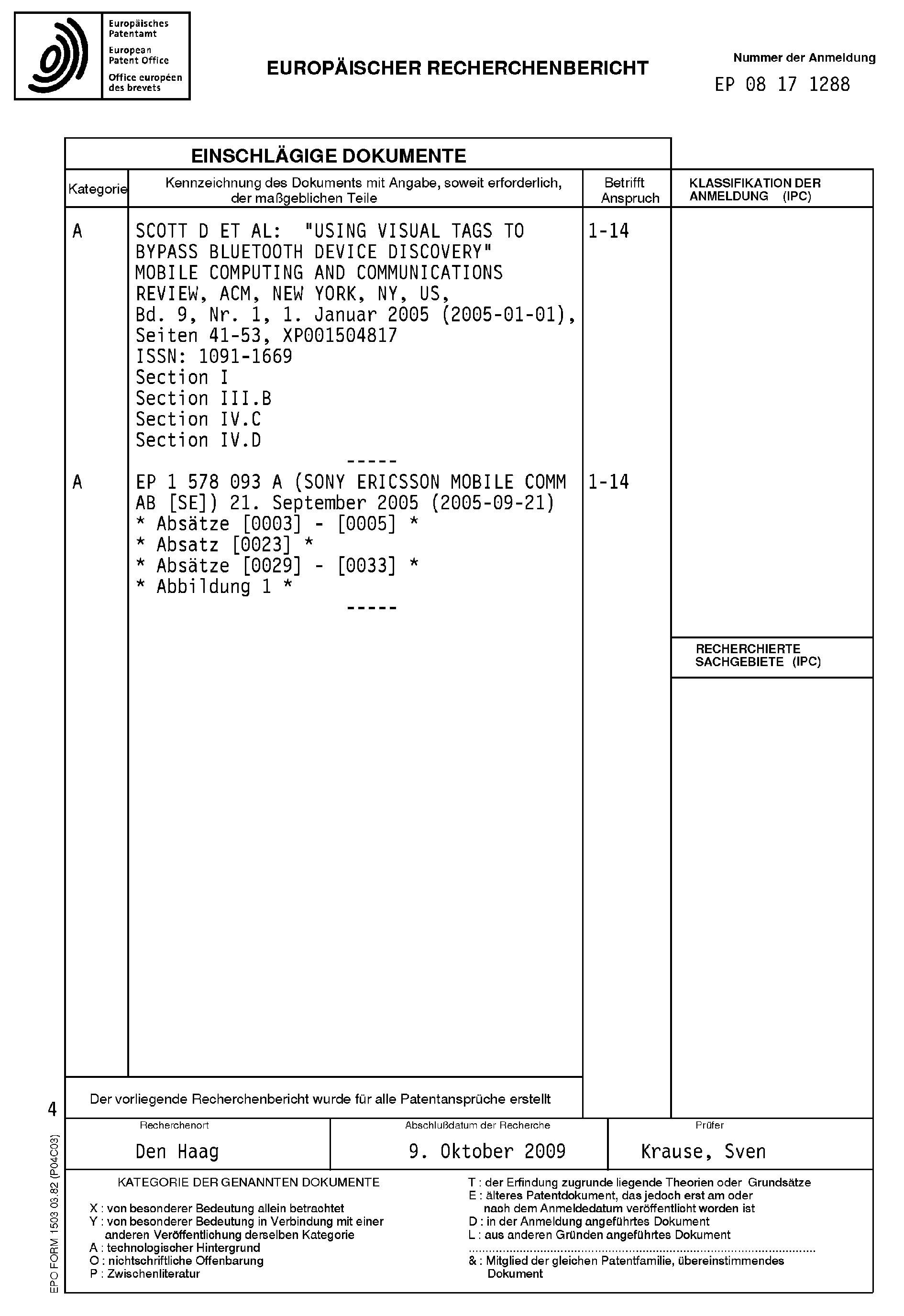 Patent EP2071800A3 - Verfahren zum Herstellen lokaler Verbindungen ...