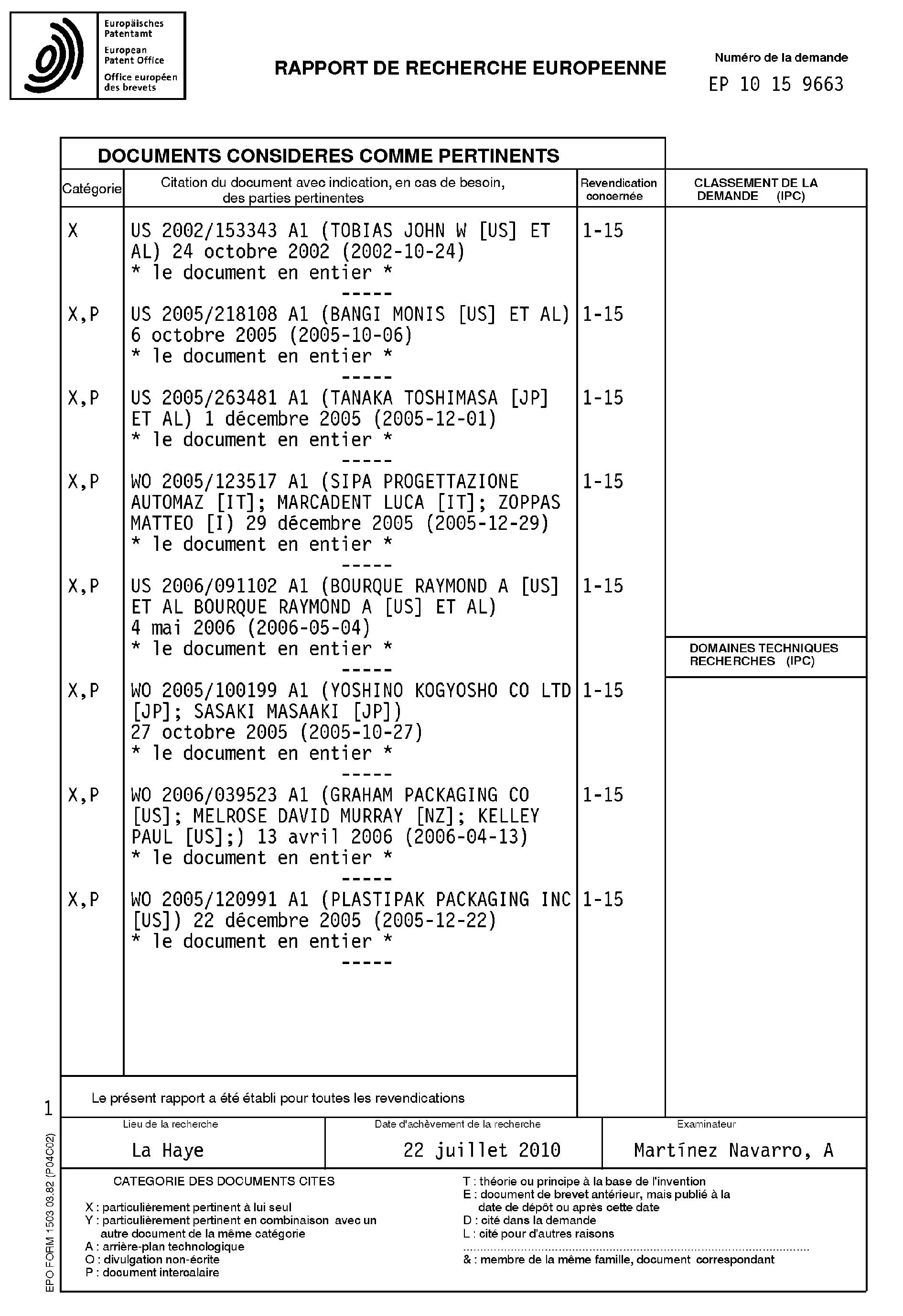 patent ep2226257a1 contenant en matiere plastique a paroi mince resistant a la chaleur pour