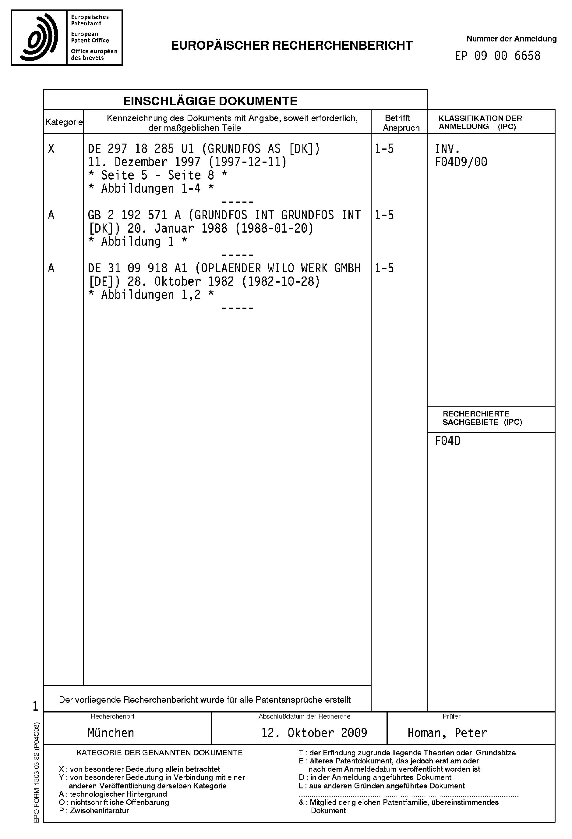Patent EP A1 Pompe centrifuge dotée d une chambre d