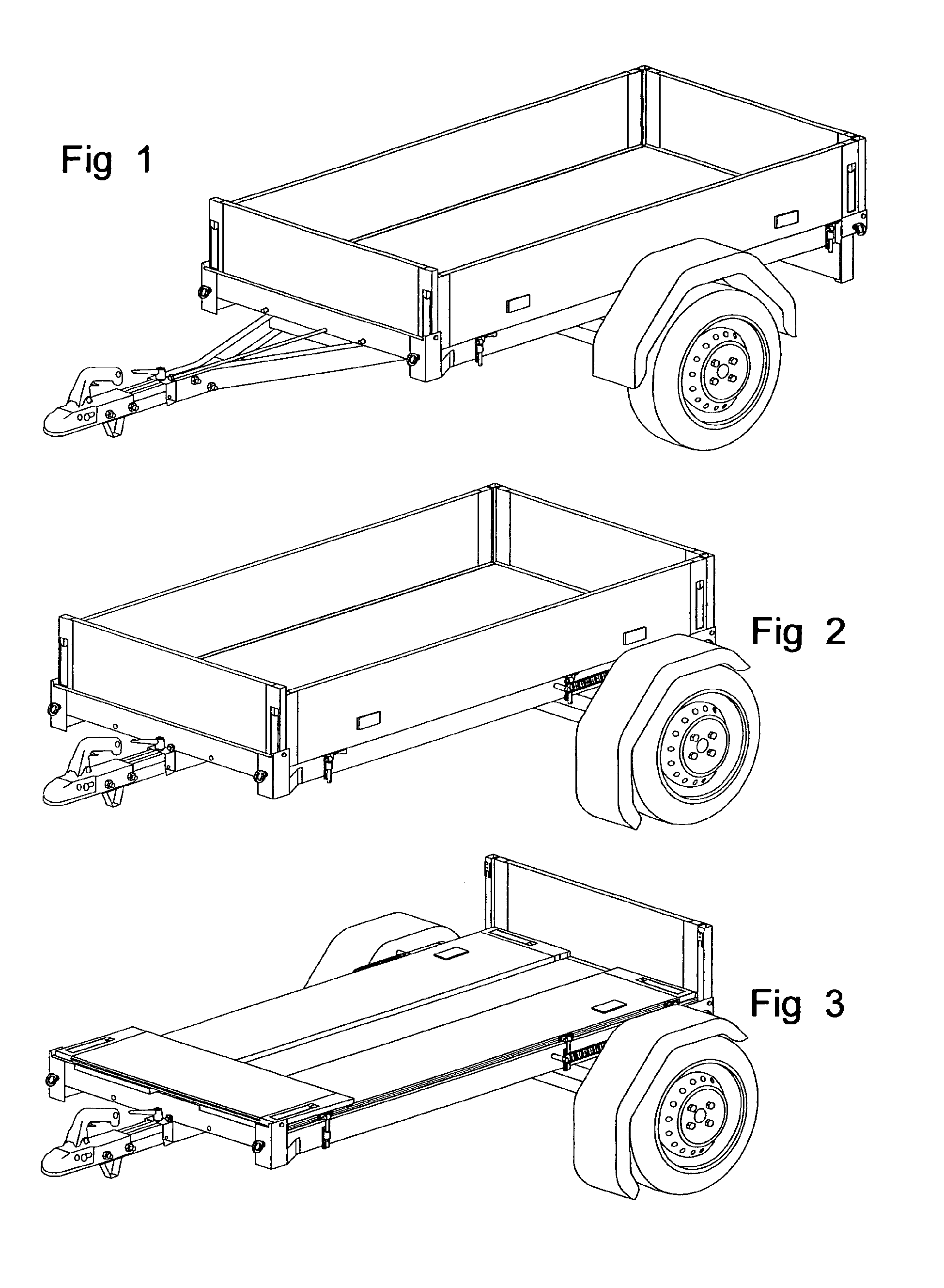 Patent EP2524860A1 - Fold-down trailer - Google Patents