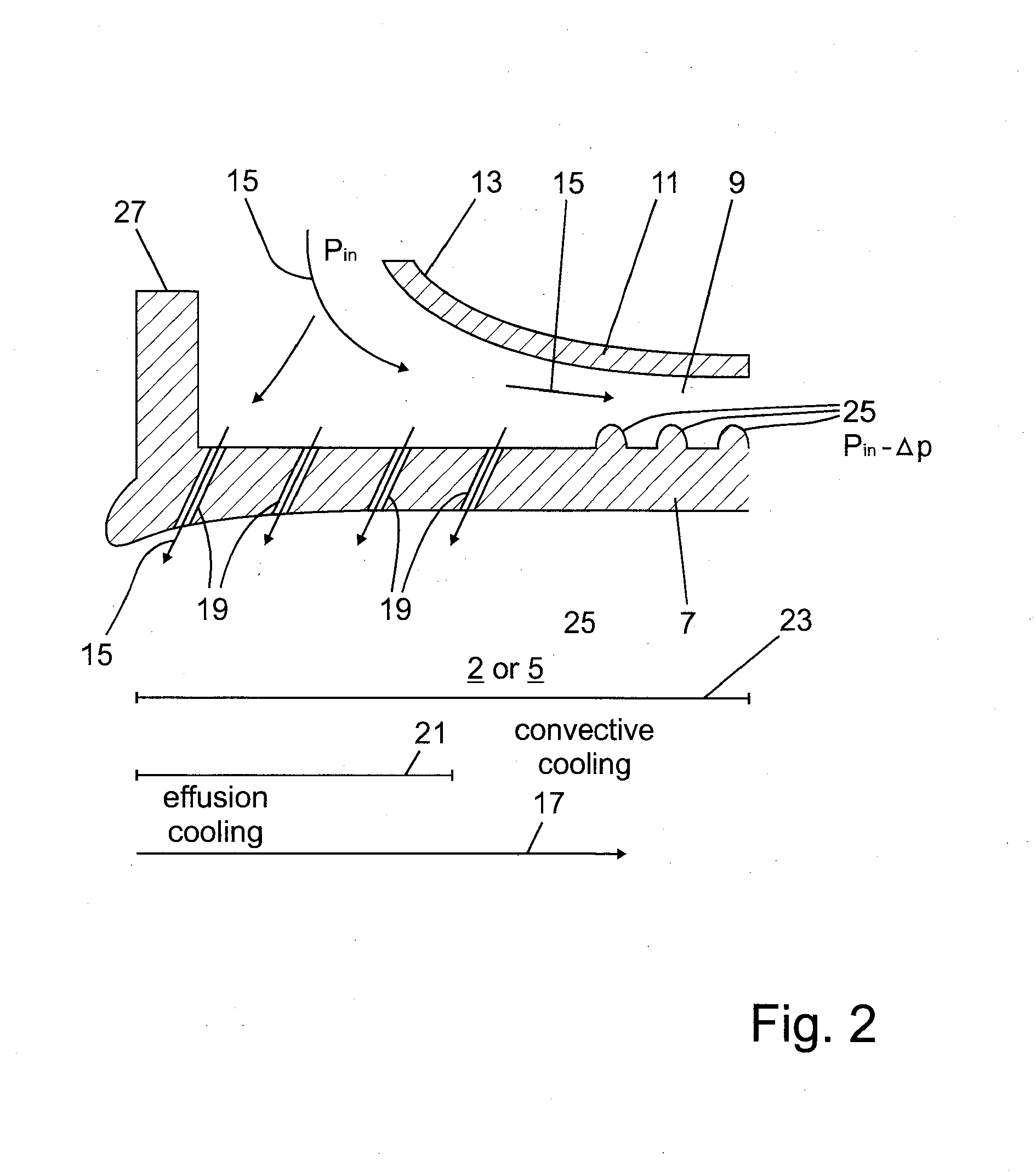 Patent EP A1 bustor of a gas turbine with pressure drop
