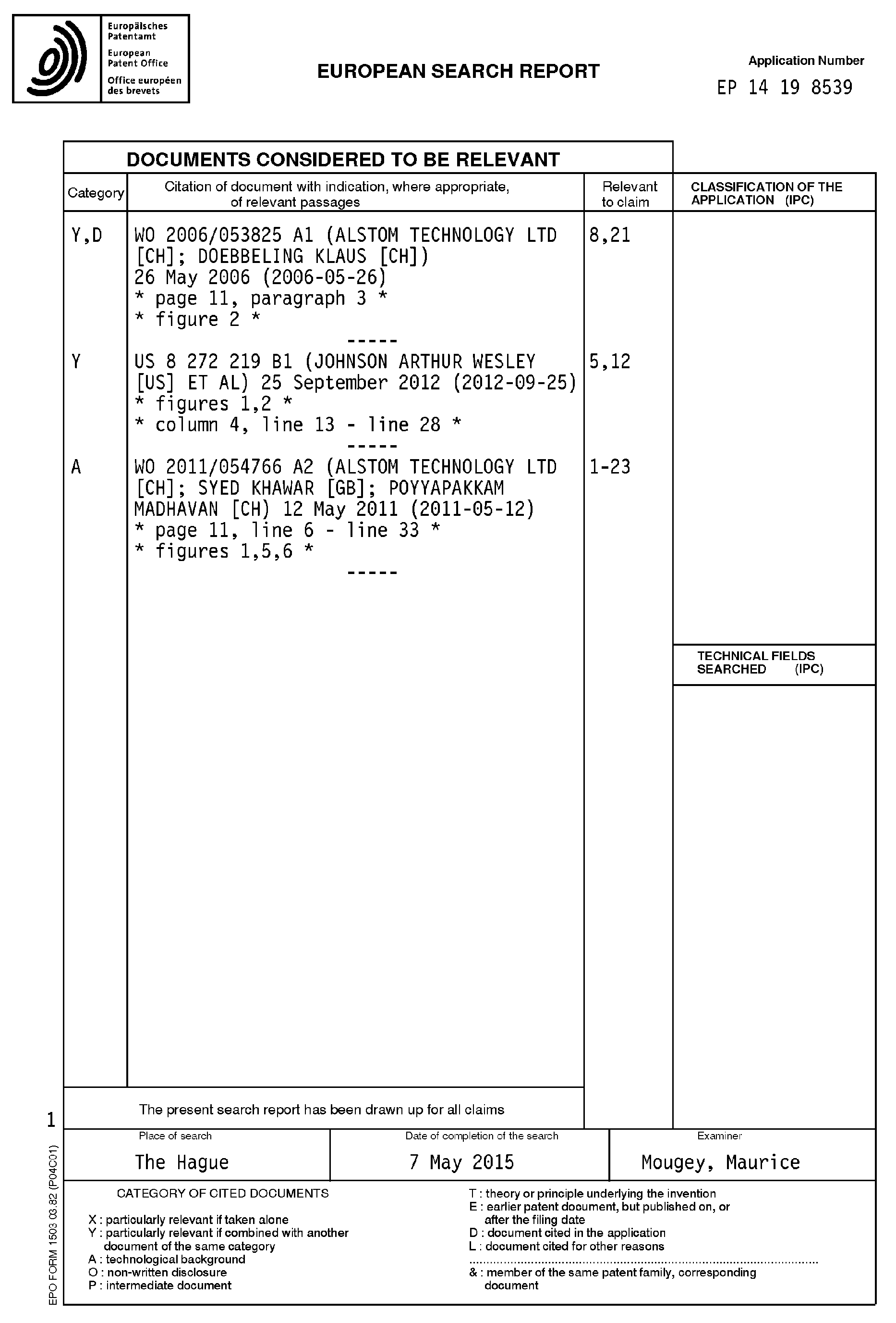 Patent EP A1 Method for operating a bustor for a gas