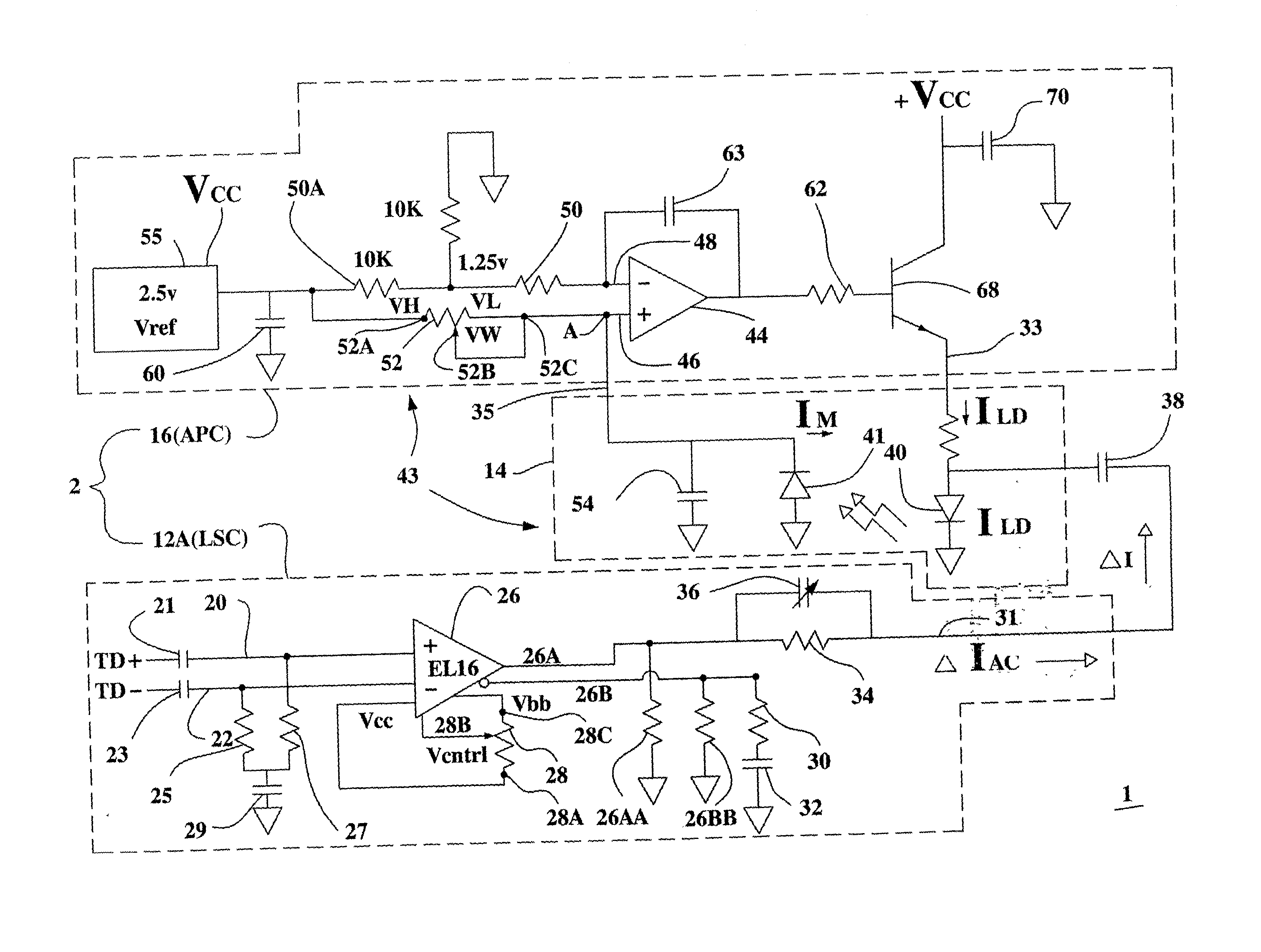 Patent Us20020114365 Automatic Power Control And Laser Slope Circuit Has A Pair Of Emitting Diodes Receiver Drawing