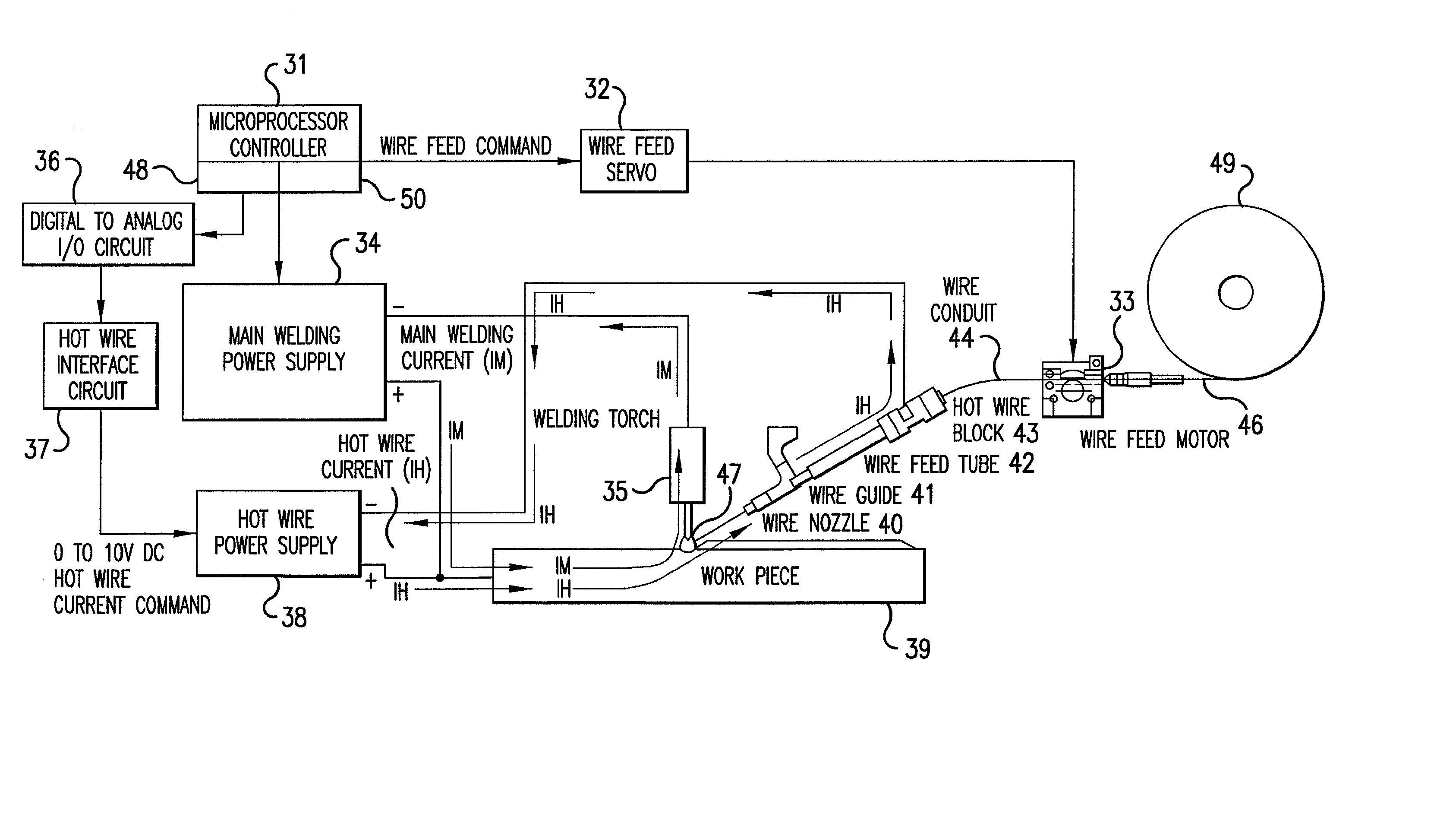 Patent Us20020117489 Method And System For Hot Wire Welding Circuit Diagram Digital Watt Meter Wiring Dc Drawing