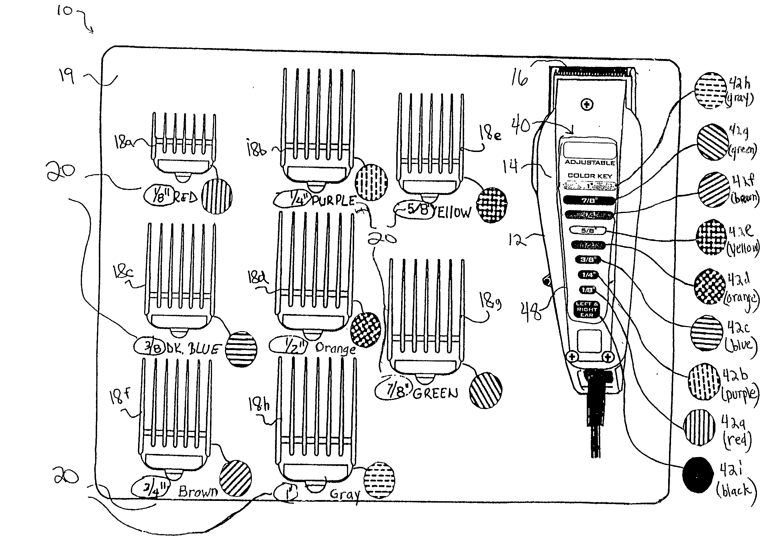 Patent us20030056374 color coded attachment comb key for hair patent drawing urmus Gallery