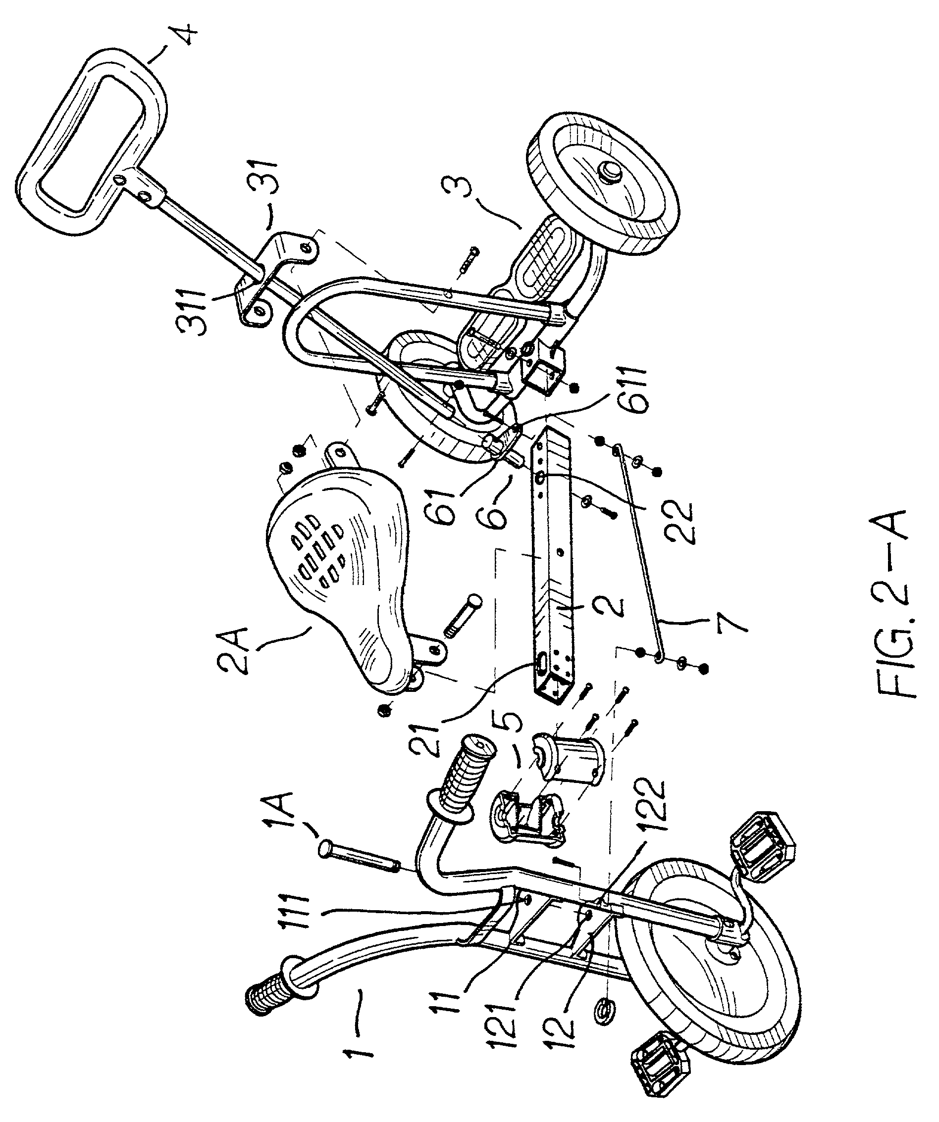 US20030132596A1 20030717 D00002 brevet us20030132596 steering structure of children's tricycle