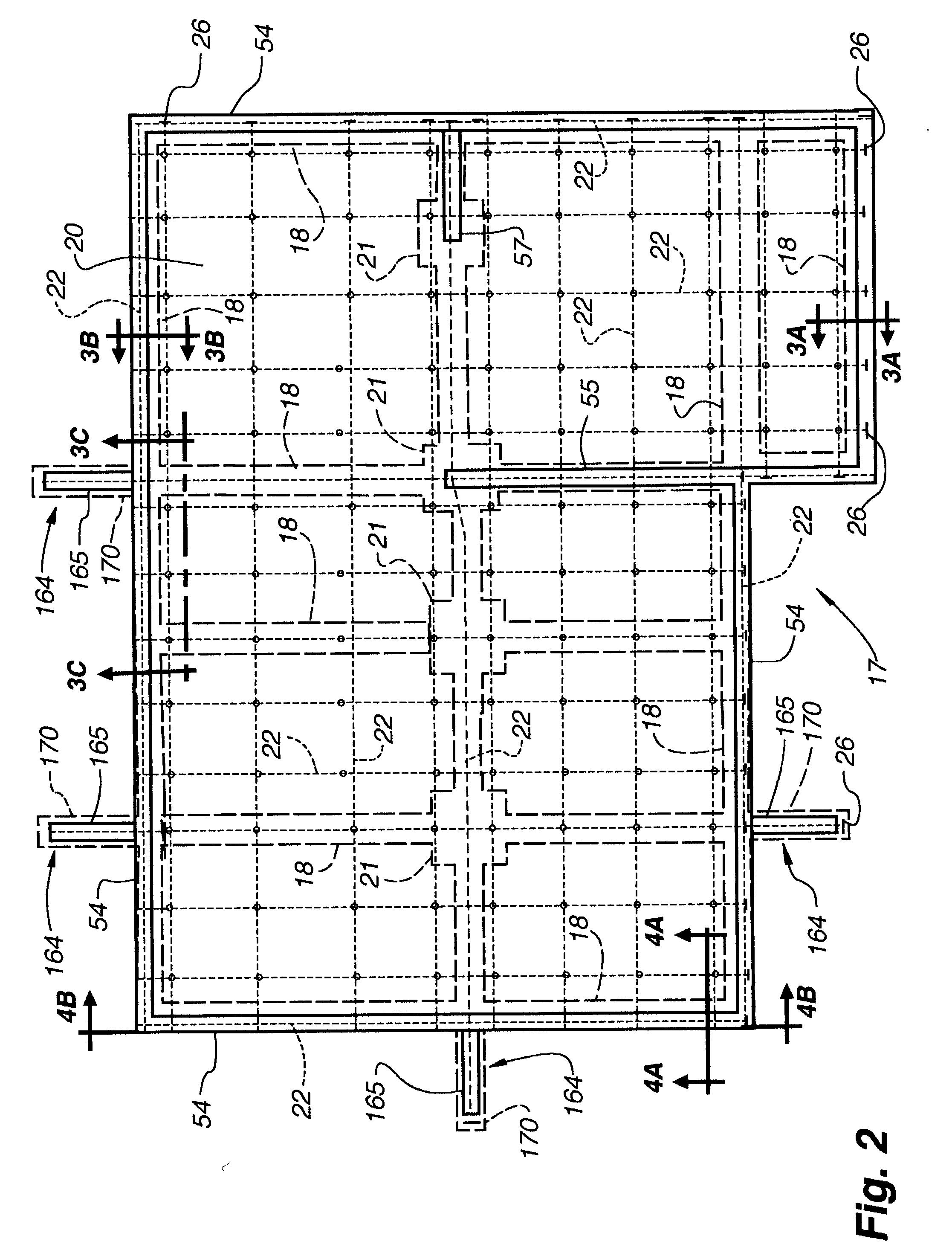 Patent us20030233798 post tensioned below grade for Concrete slab plans