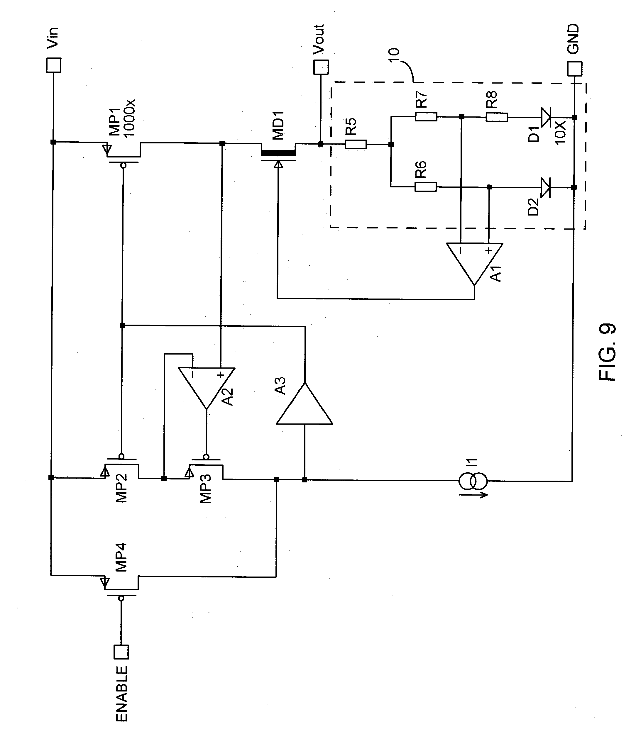 Patent Us20040046532 Low Dropout Voltage Regulator Using A Demosfet Depletion Enhancement Mosfet Drawing