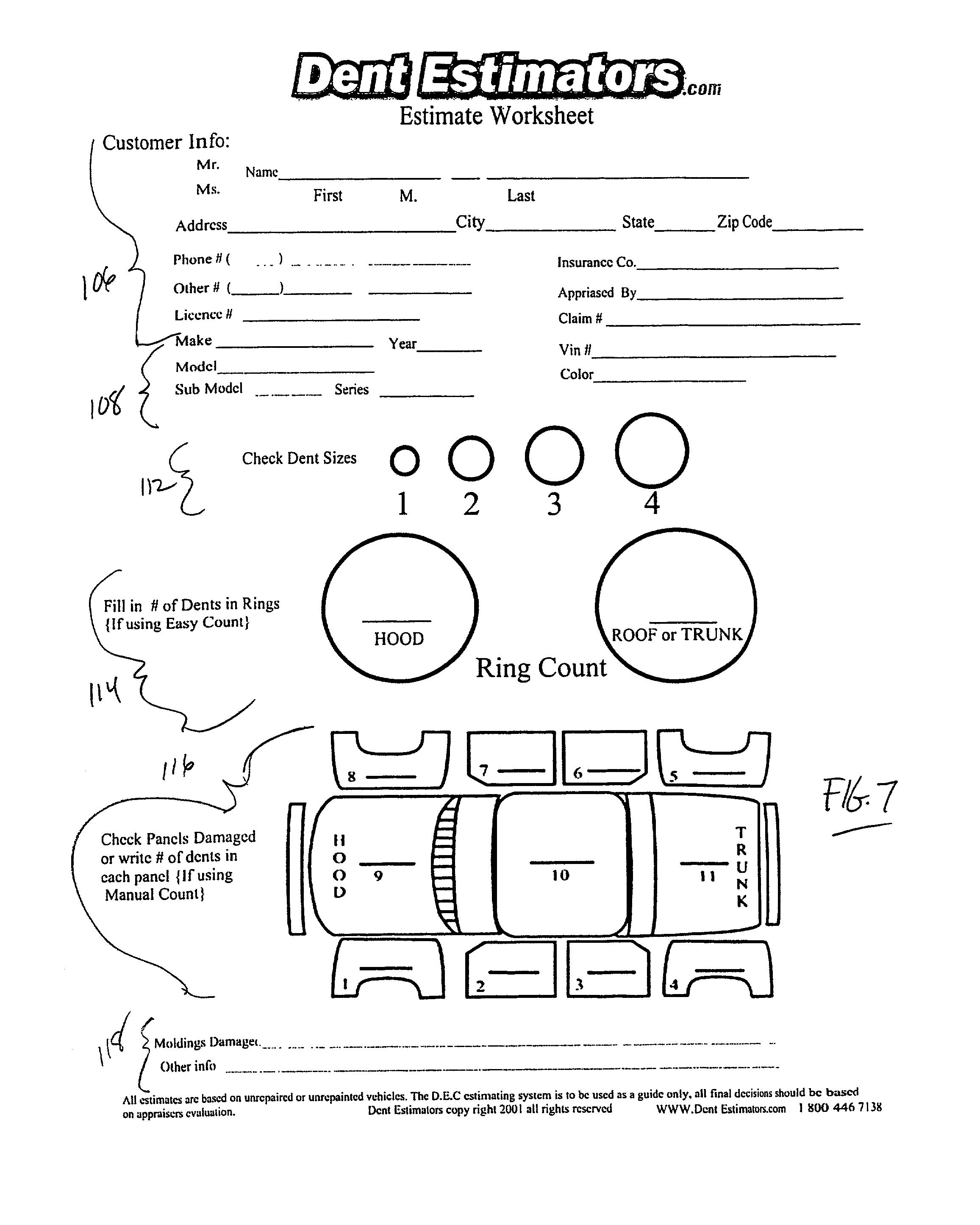 patent us automobile repair estimation method patent drawing