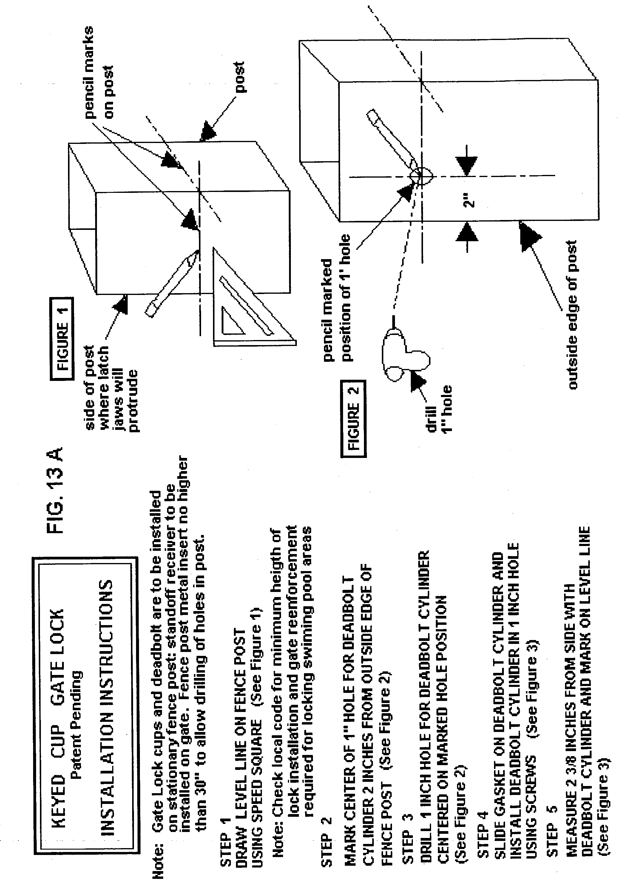 Patent us20040177659 deadbolt vinyl gate fence lock and system patent drawing baanklon Image collections