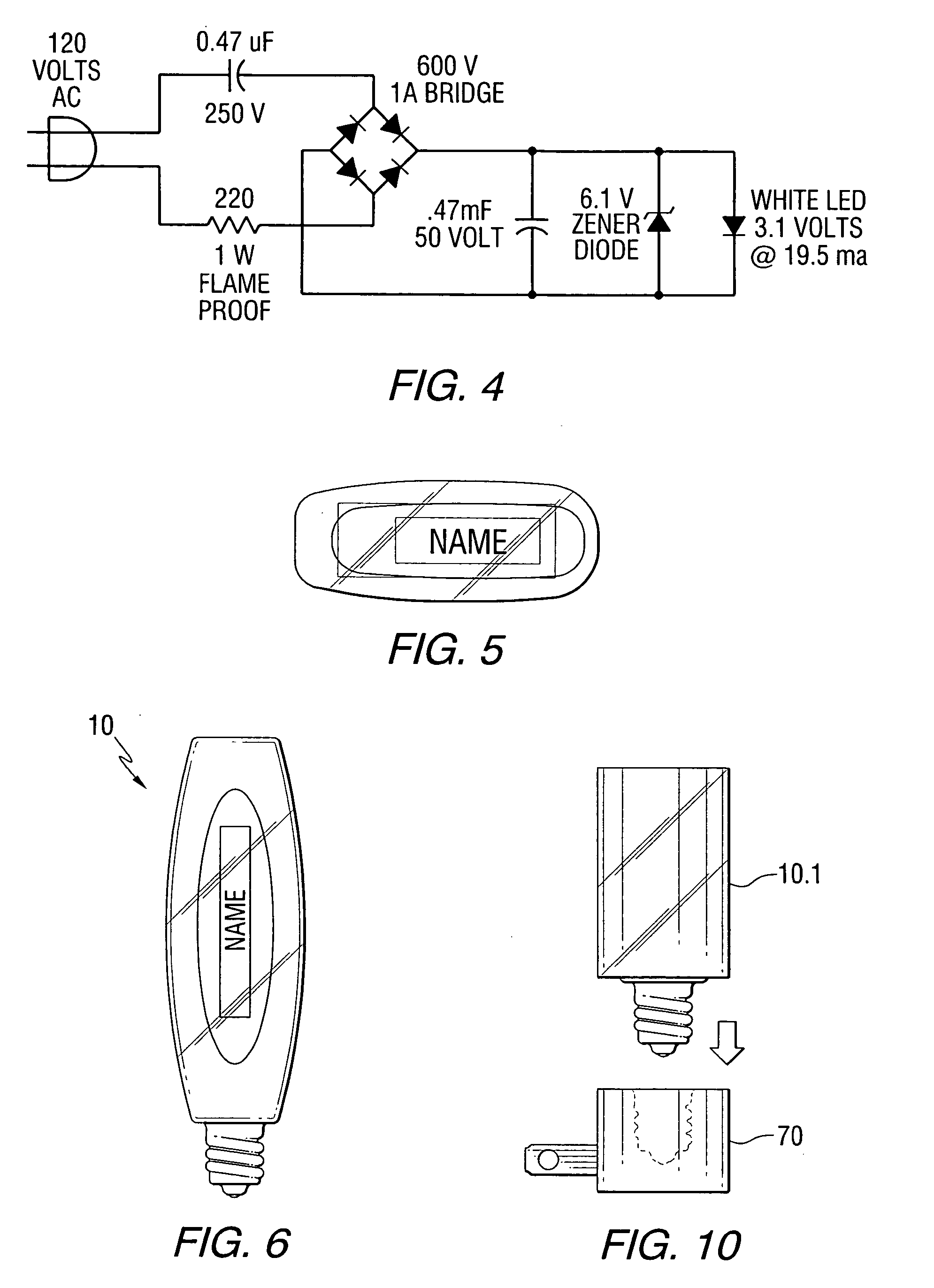 120 volt led night light circuit - Patent Drawing