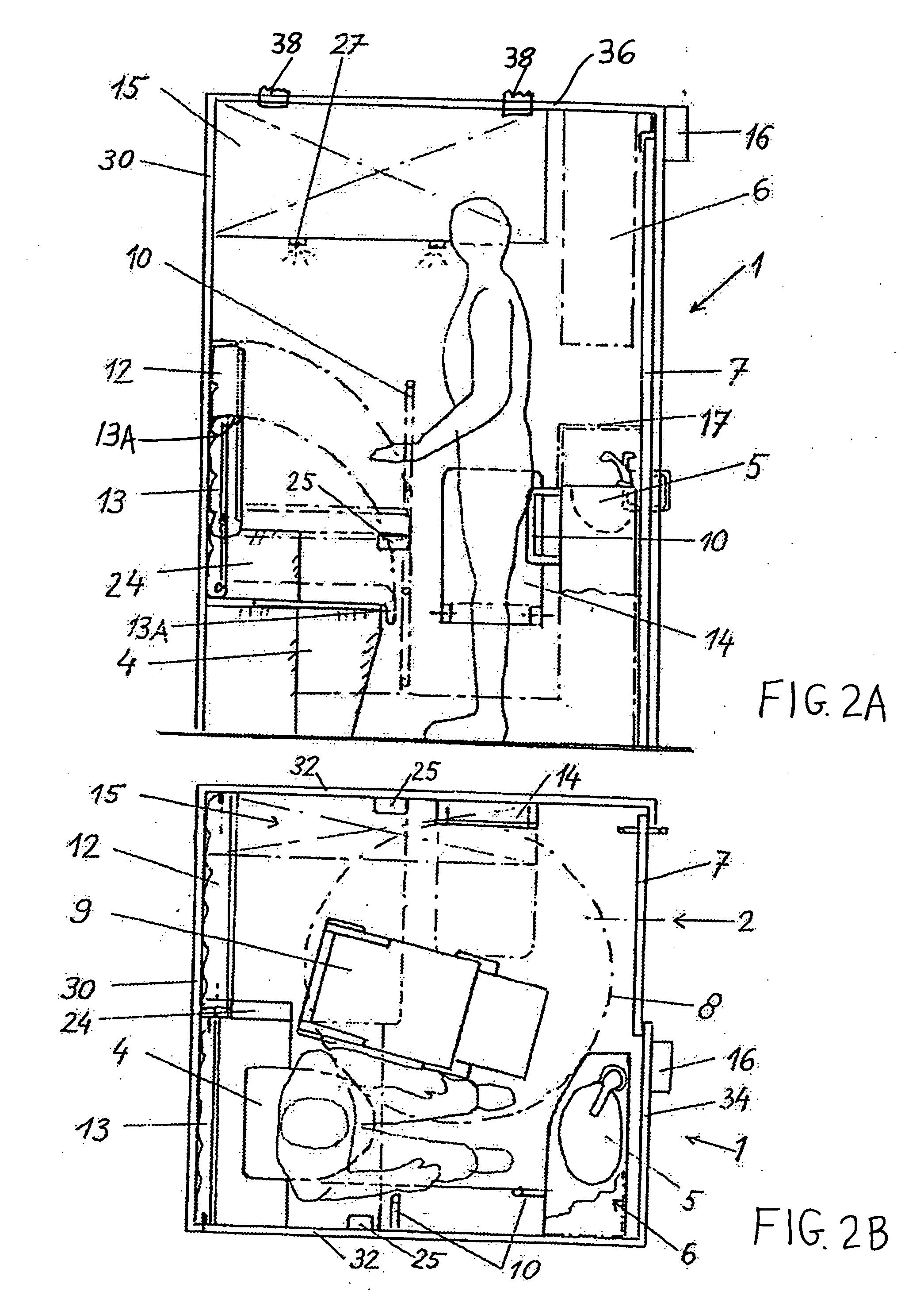 Handicap Bathroom Airplane patent us20050103935 - multipurpose passenger compartment in a