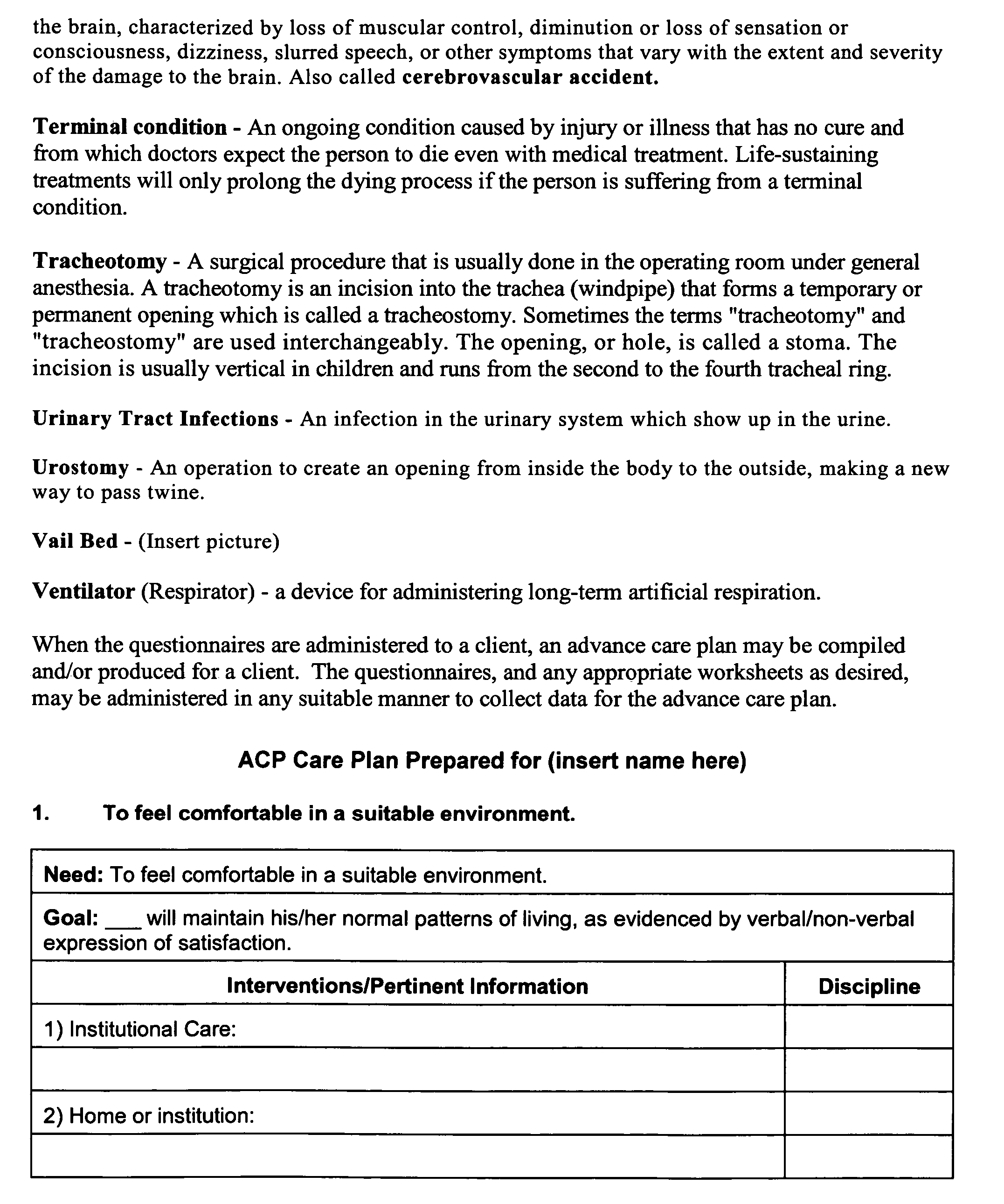 patent us20050202383 - advance care plan - google patents